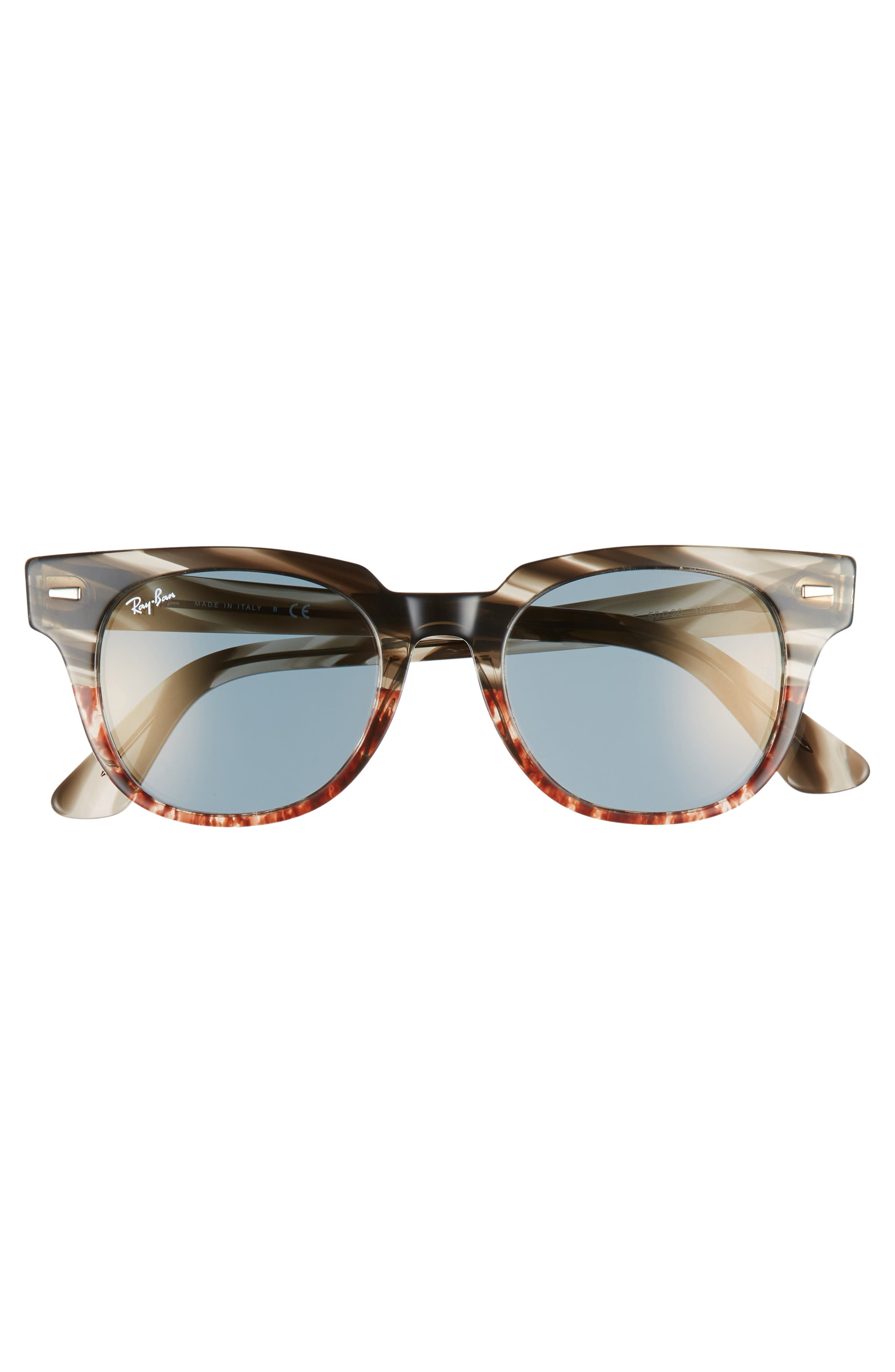 Meteor 50mm Mirrored Wayfarer Sunglasses,                             Alternate thumbnail 3, color,                             GOLD BLUE MIRROR