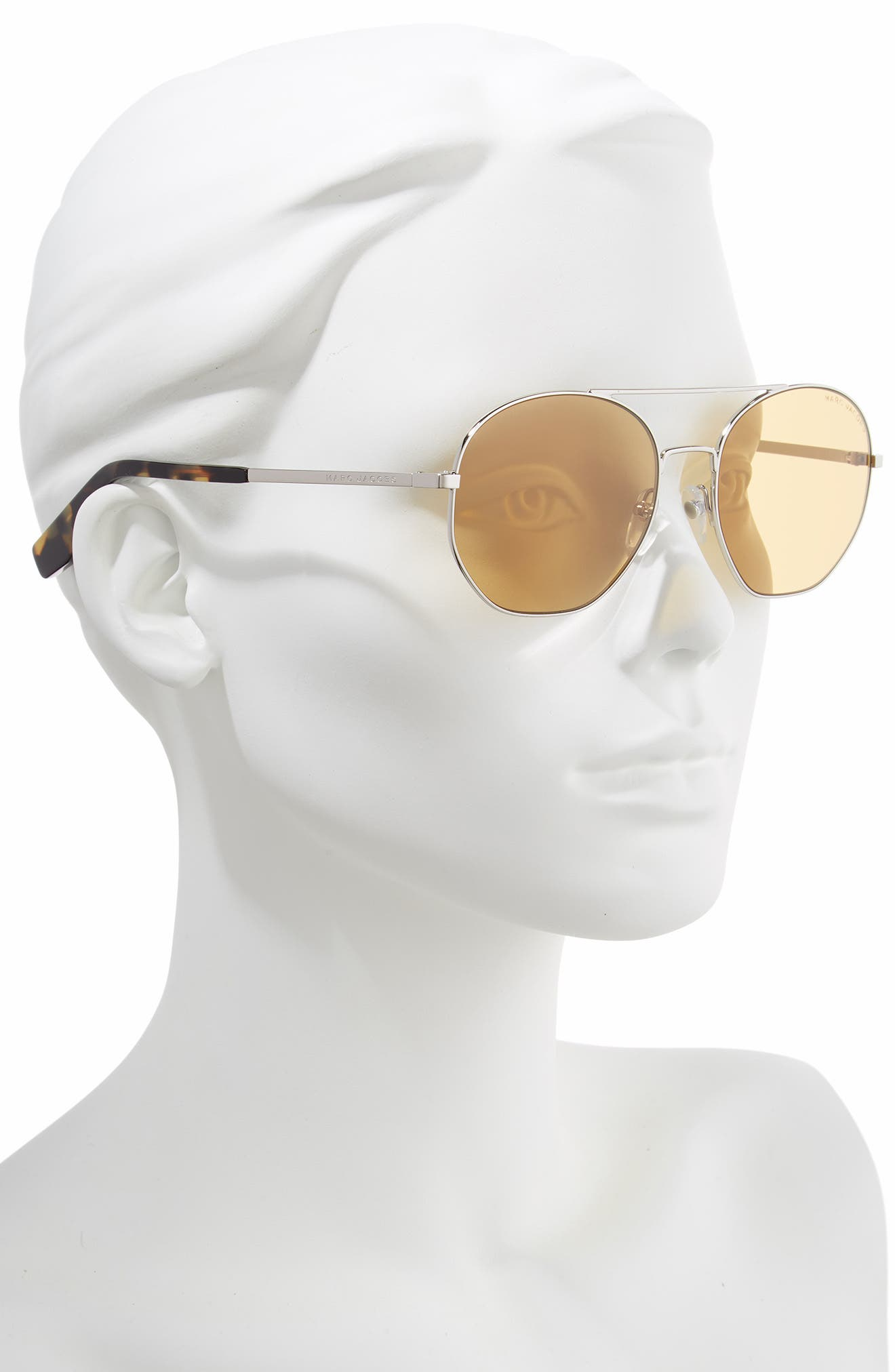 57mm Round Aviator Sunglasses,                             Alternate thumbnail 2, color,                             SILVER/ BROWN