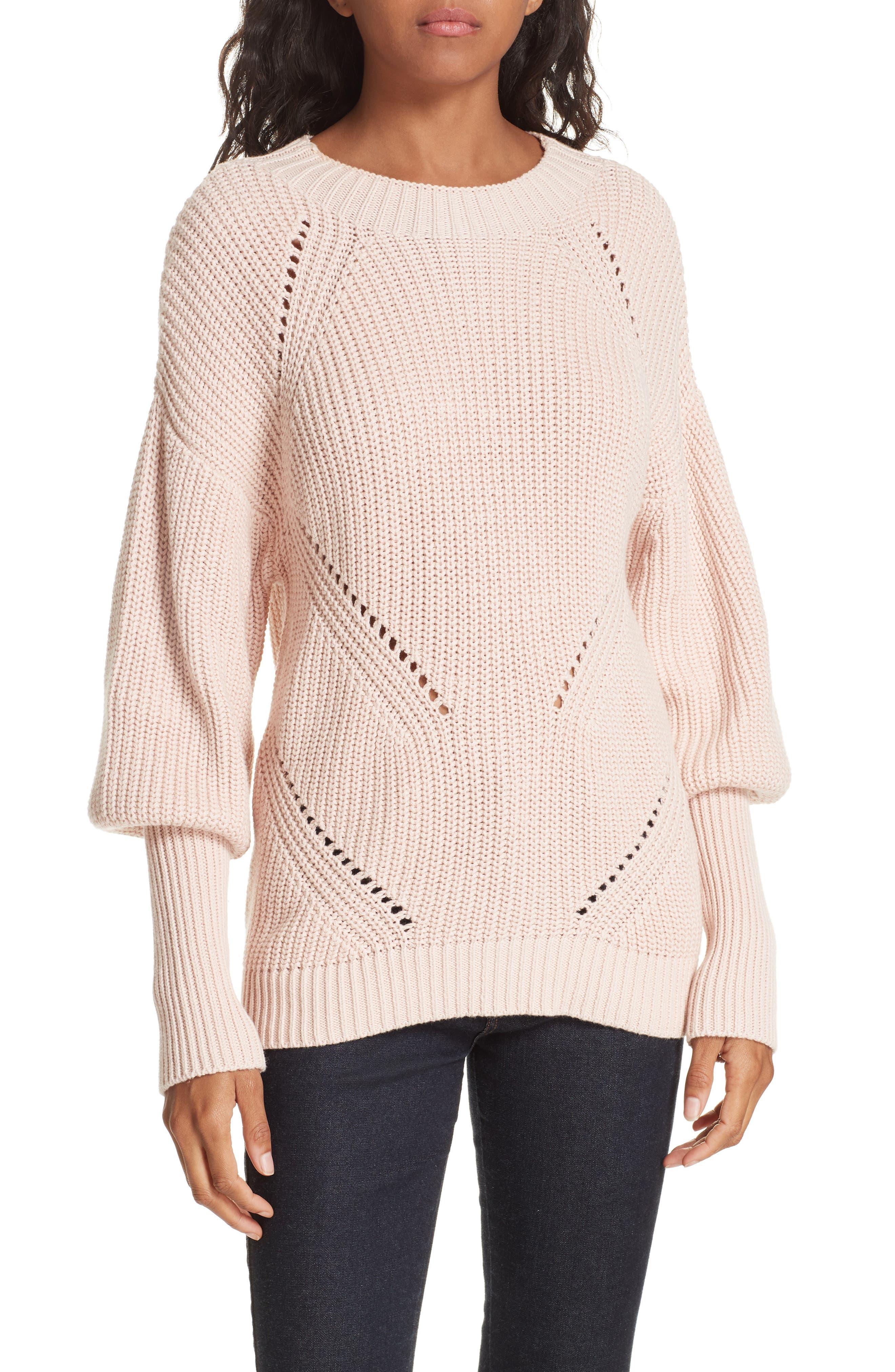 Landyn Blouson Sleeve Sweater,                             Main thumbnail 1, color,                             PINK SKY