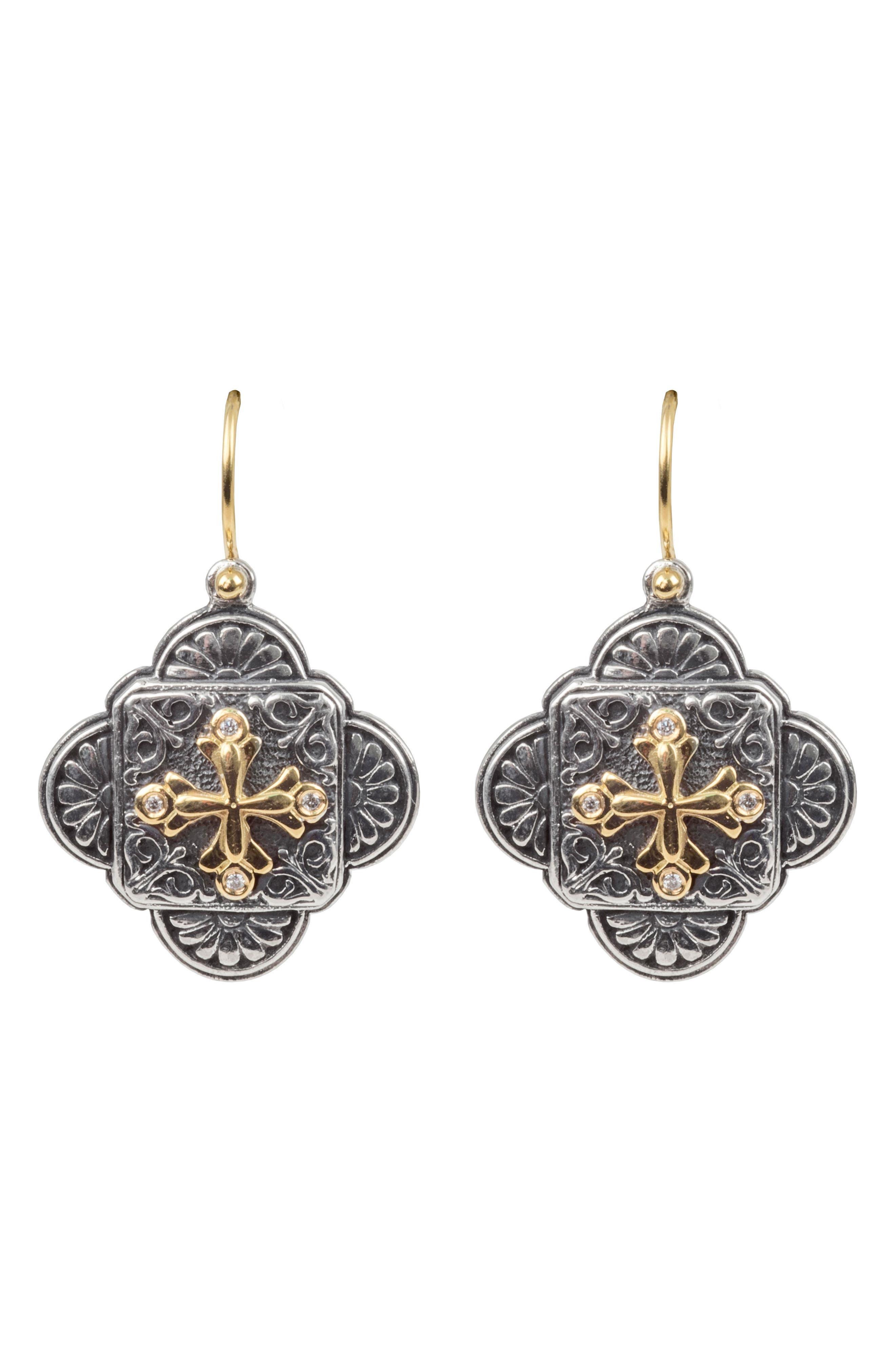 Diamond Clover Drop Earrings,                             Main thumbnail 1, color,                             SILVER/ GOLD