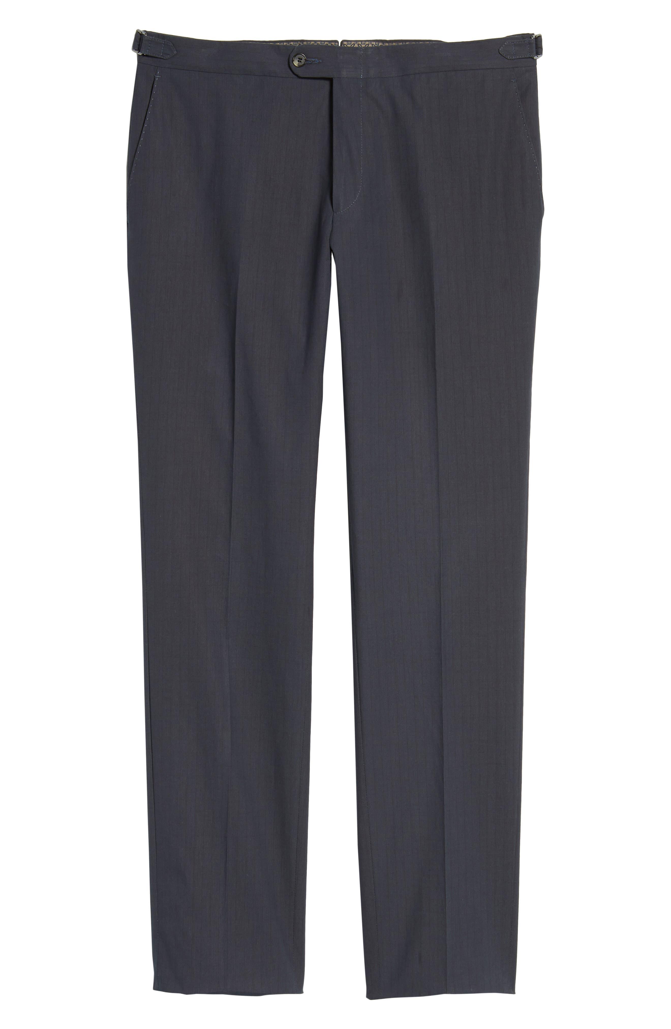 Flat Front Stripe Stretch Cotton Trousers,                             Alternate thumbnail 6, color,                             422