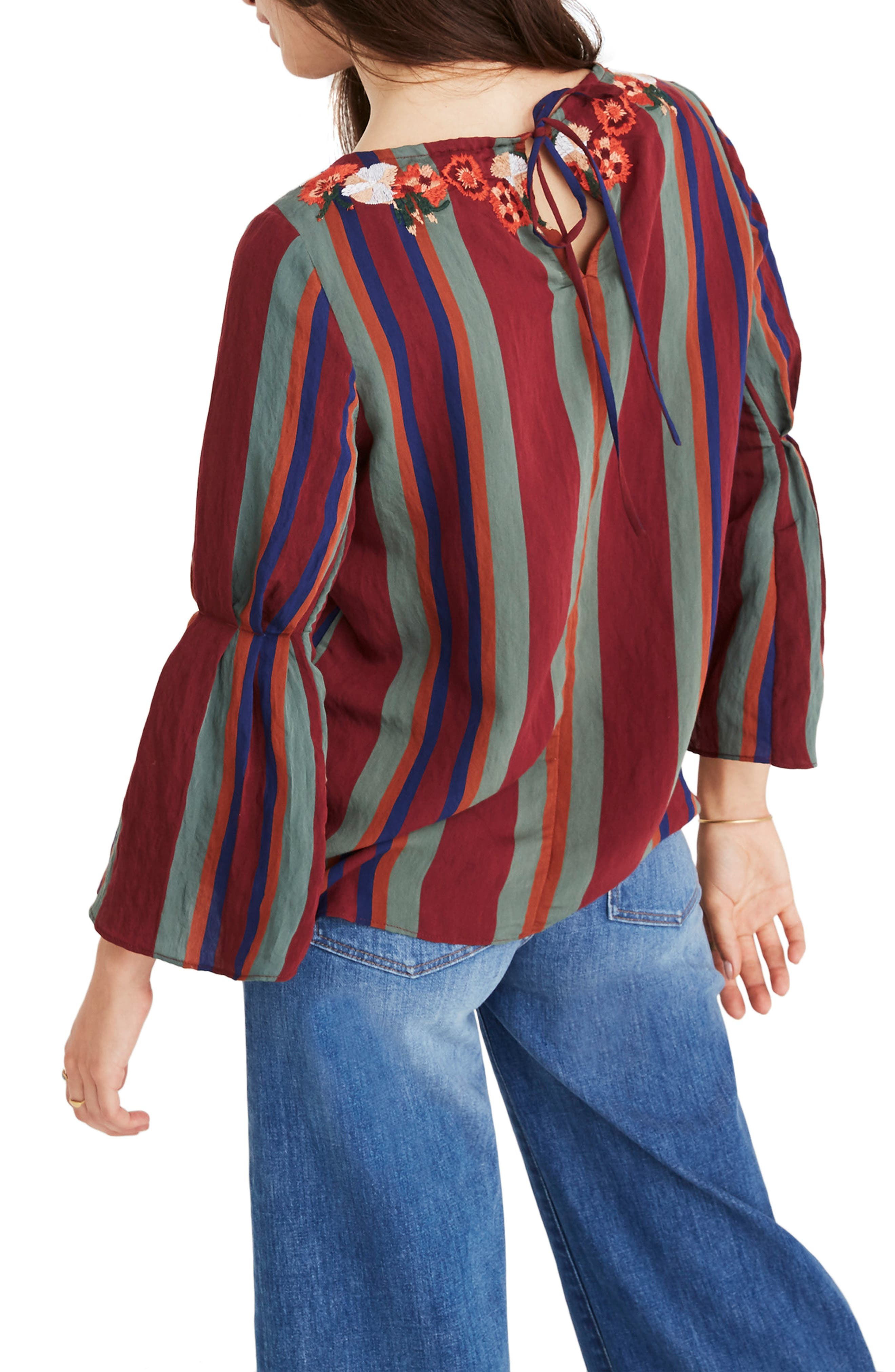 Embroidered Pleat Sleeve Top,                             Alternate thumbnail 2, color,                             930