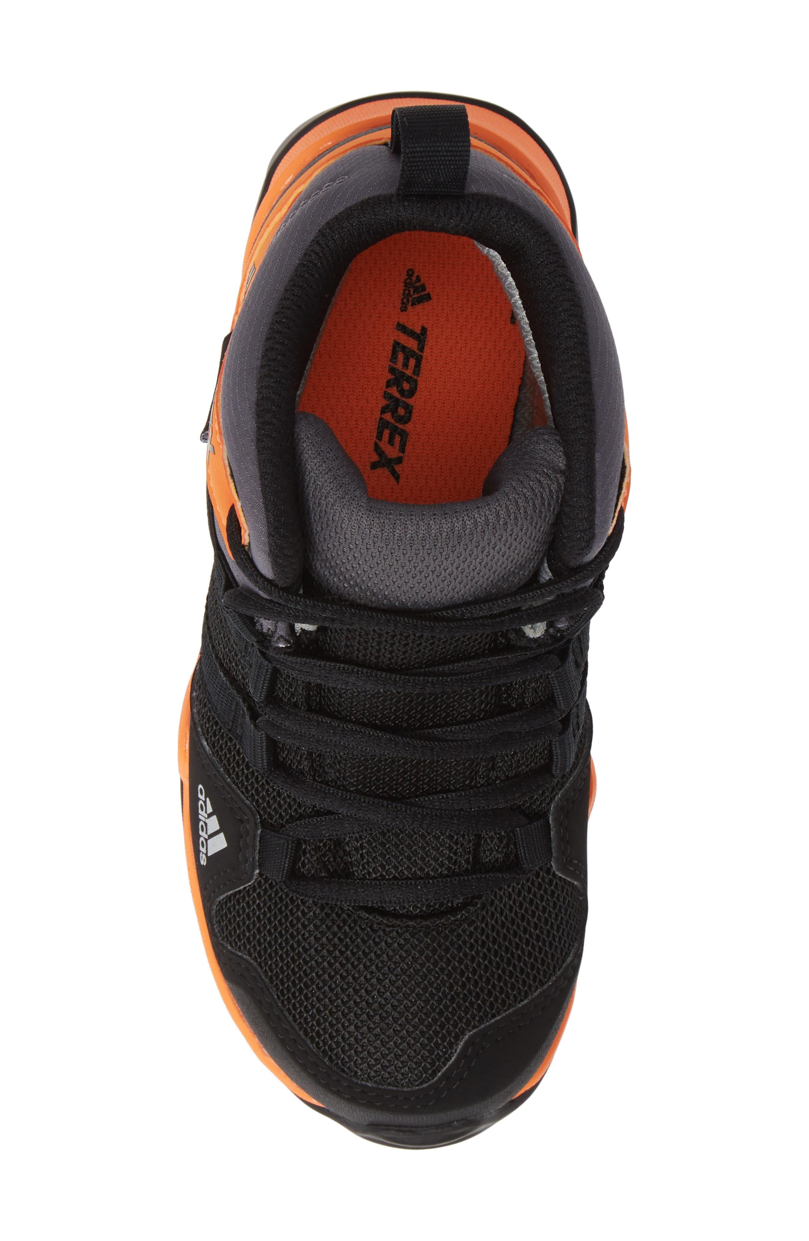 Terrex AX2R Mid Sneaker,                             Alternate thumbnail 5, color,                             BLACK/ BLACK/ HI-RES ORANGE