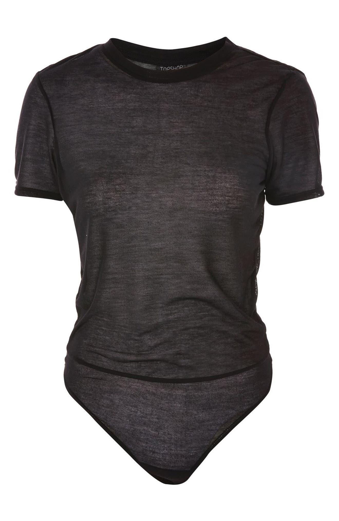 Sheer T-Shirt Bodysuit,                             Alternate thumbnail 3, color,                             001
