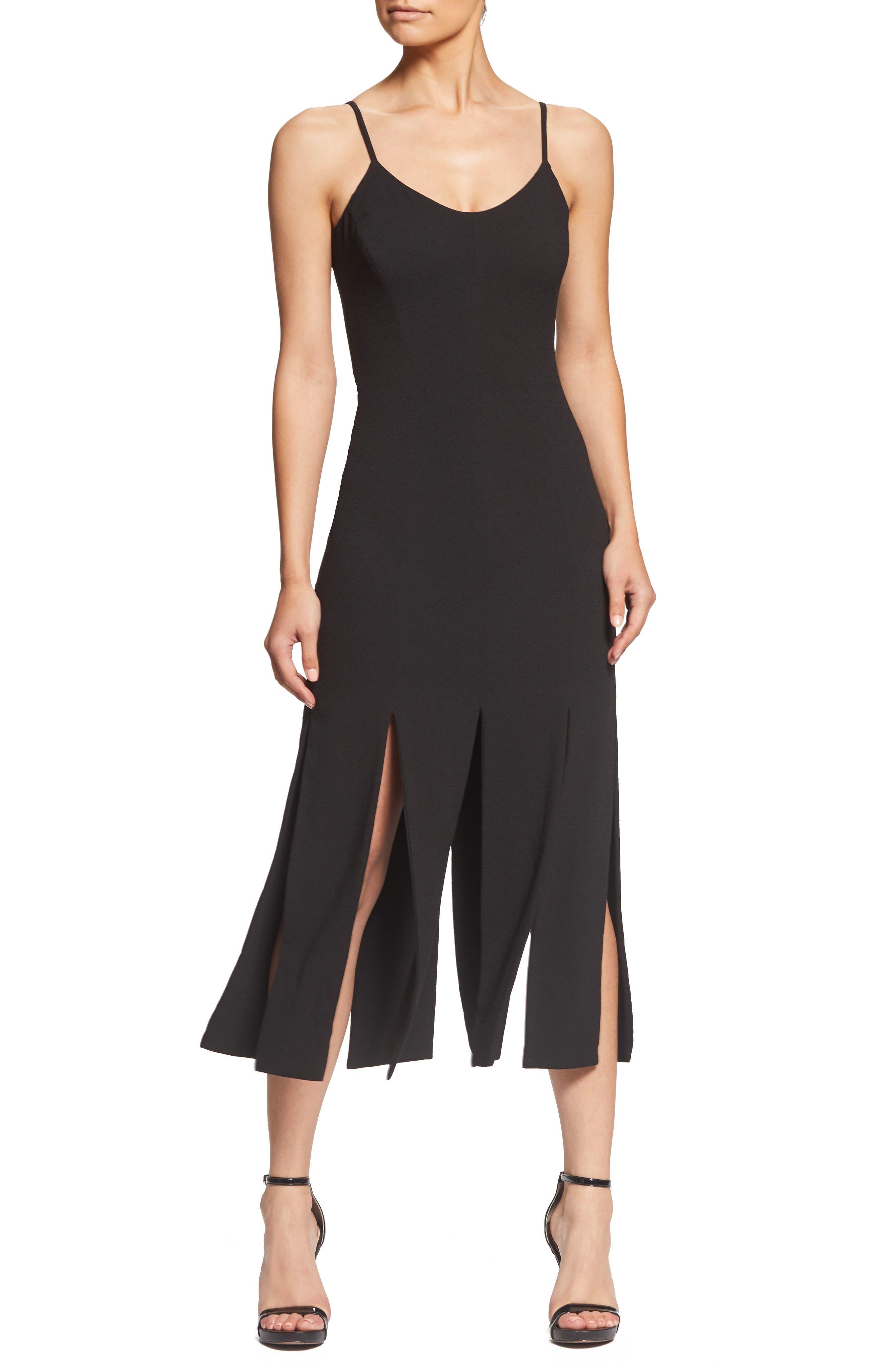 Devon Midi Dress,                         Main,                         color, BLACK