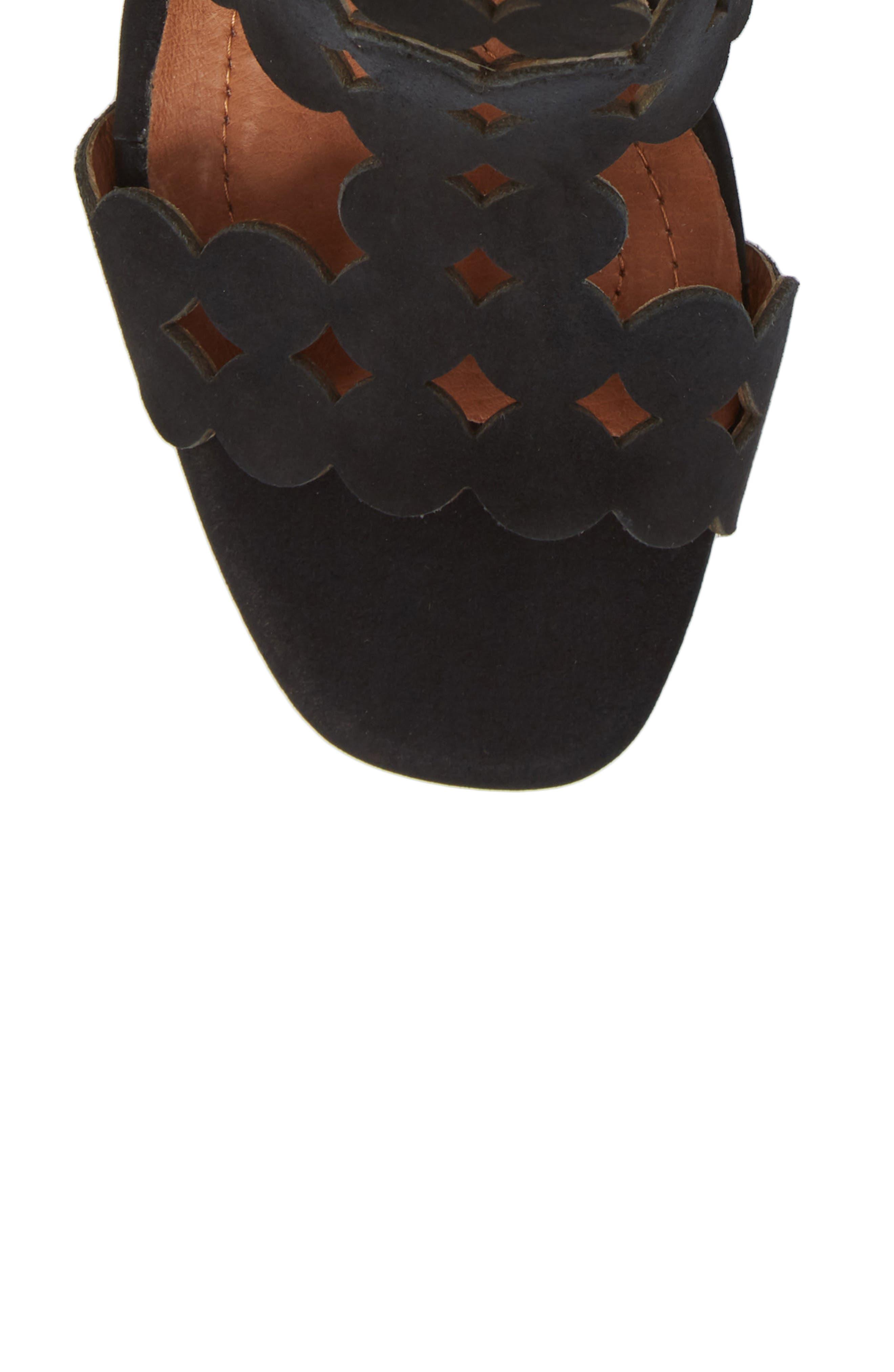 SUDINI,                             Novara Block Heel Sandal,                             Alternate thumbnail 5, color,                             BLACK NUBUCK LEATHER