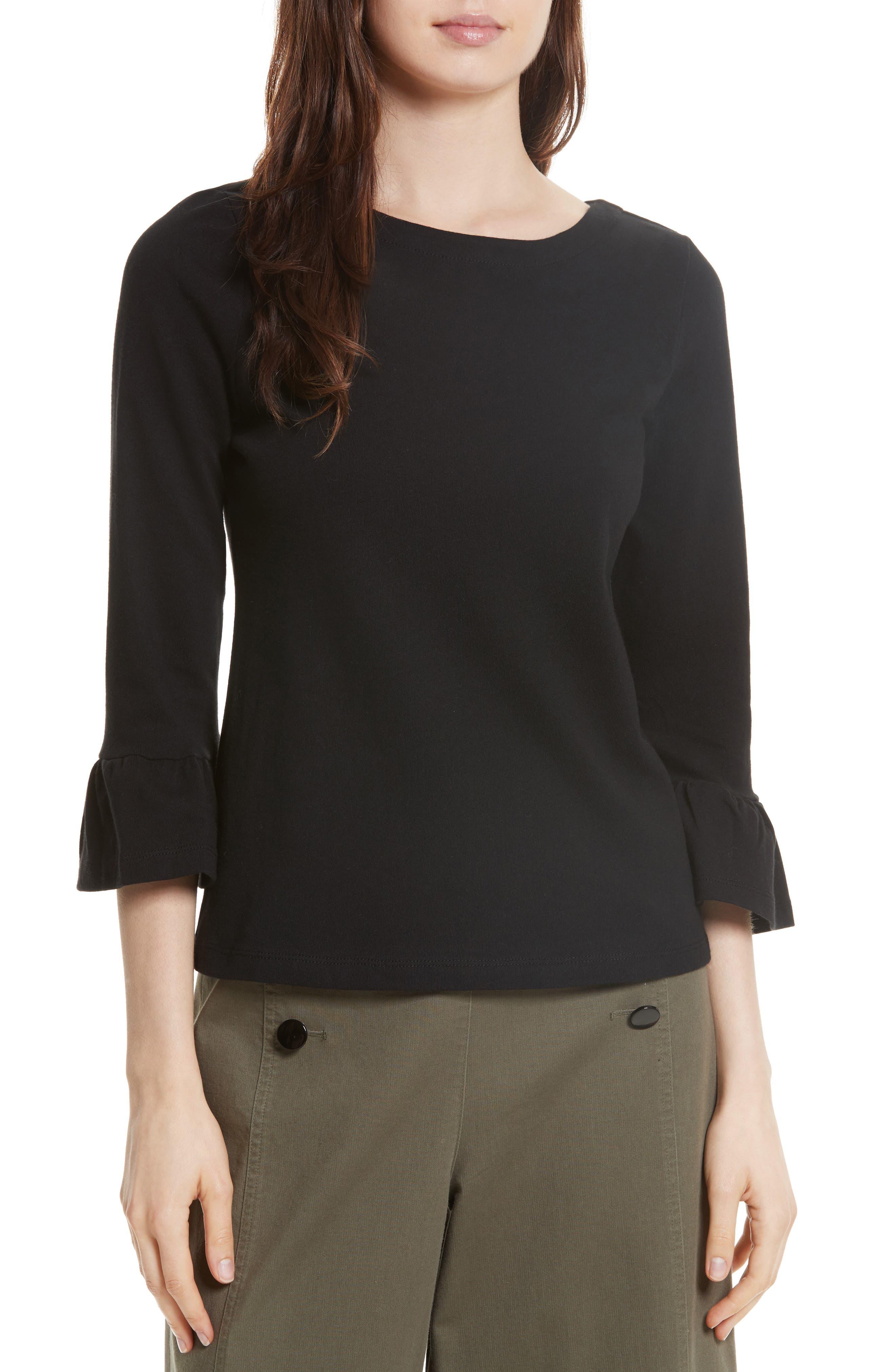 flounce sleeve knit top,                         Main,                         color, 001