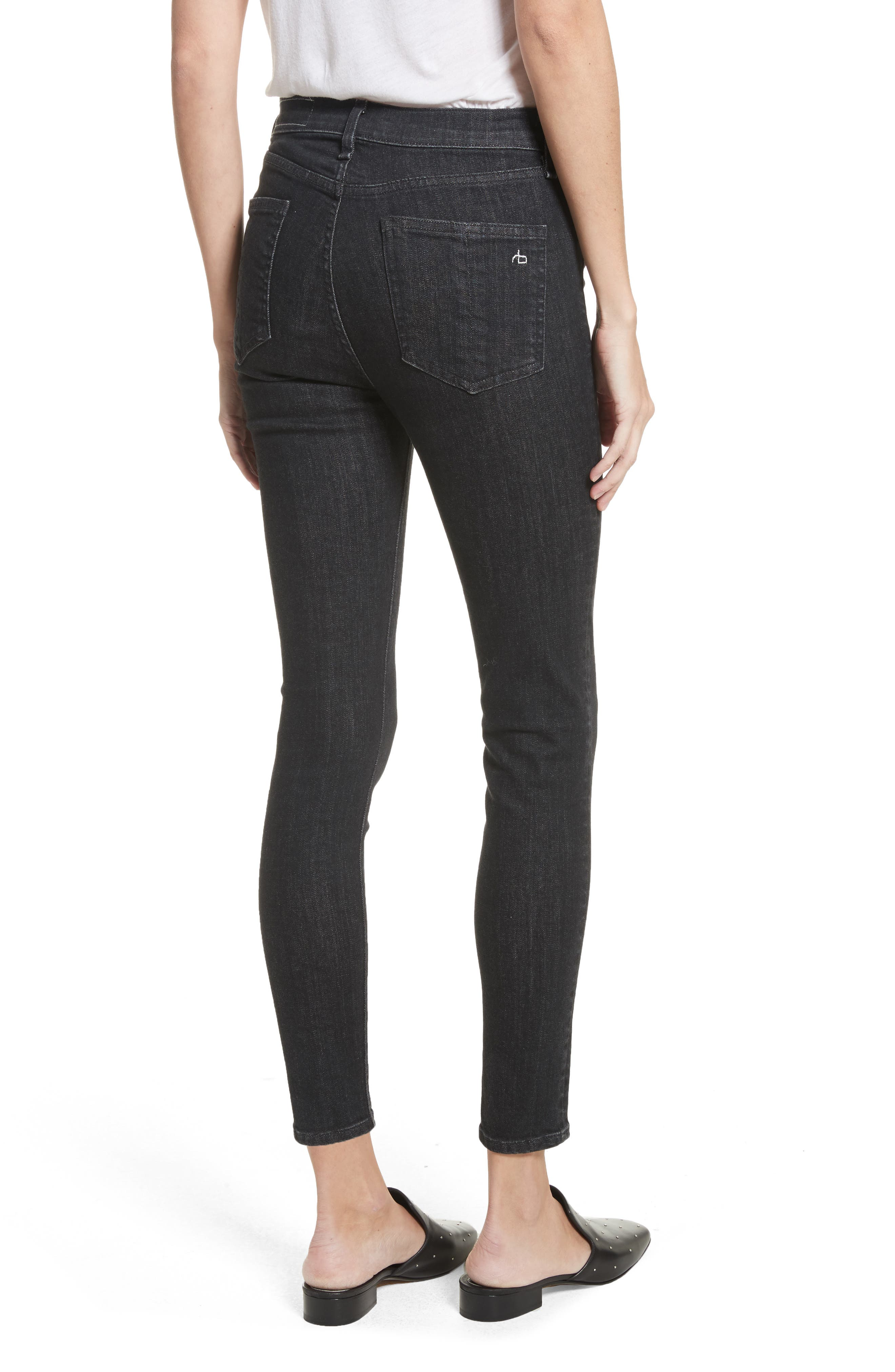 High Waist Ankle Skinny Jeans,                             Alternate thumbnail 2, color,                             002