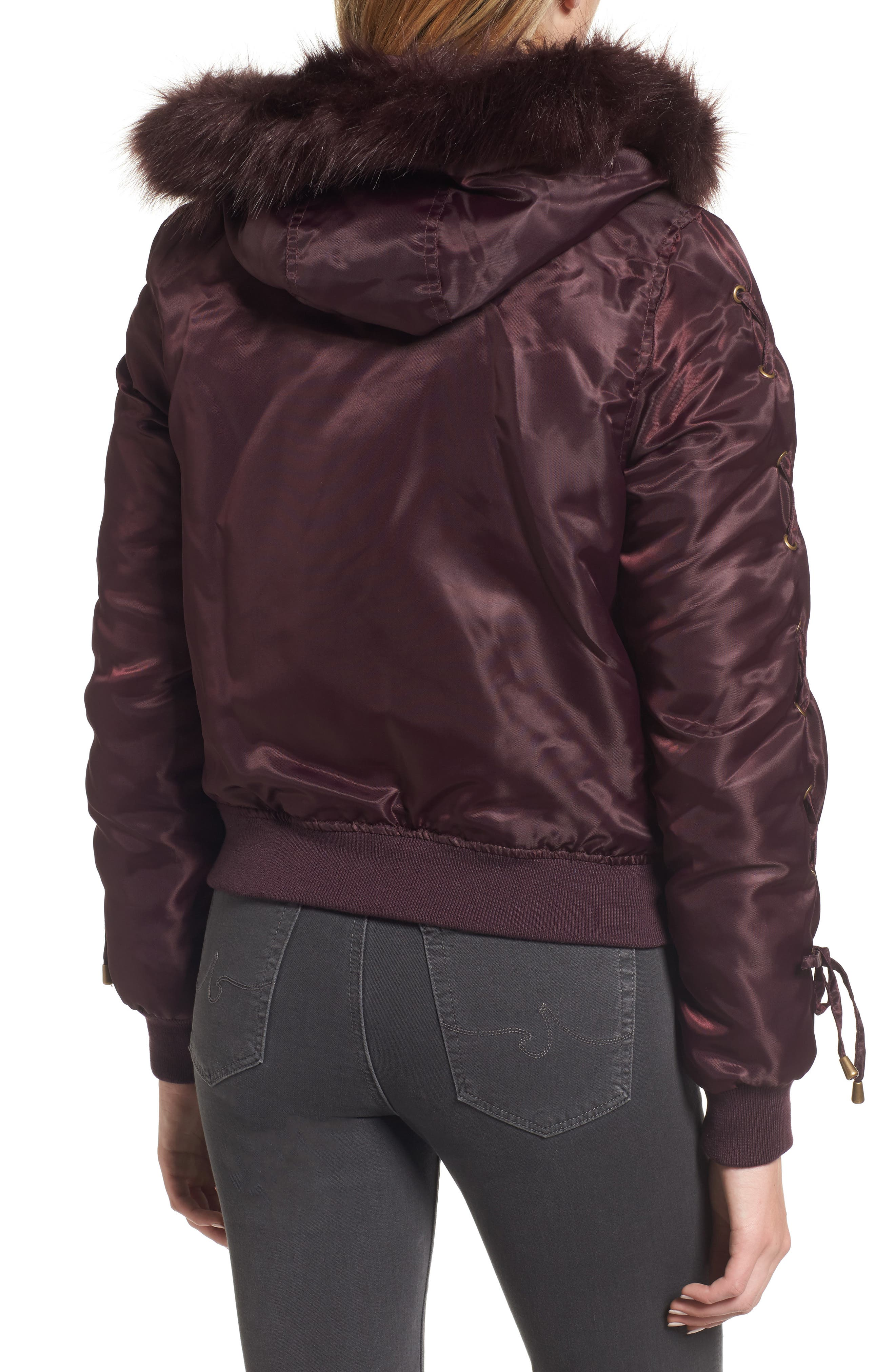Lace-Up Sleeve Quilted Bomber Jacket,                             Alternate thumbnail 5, color,