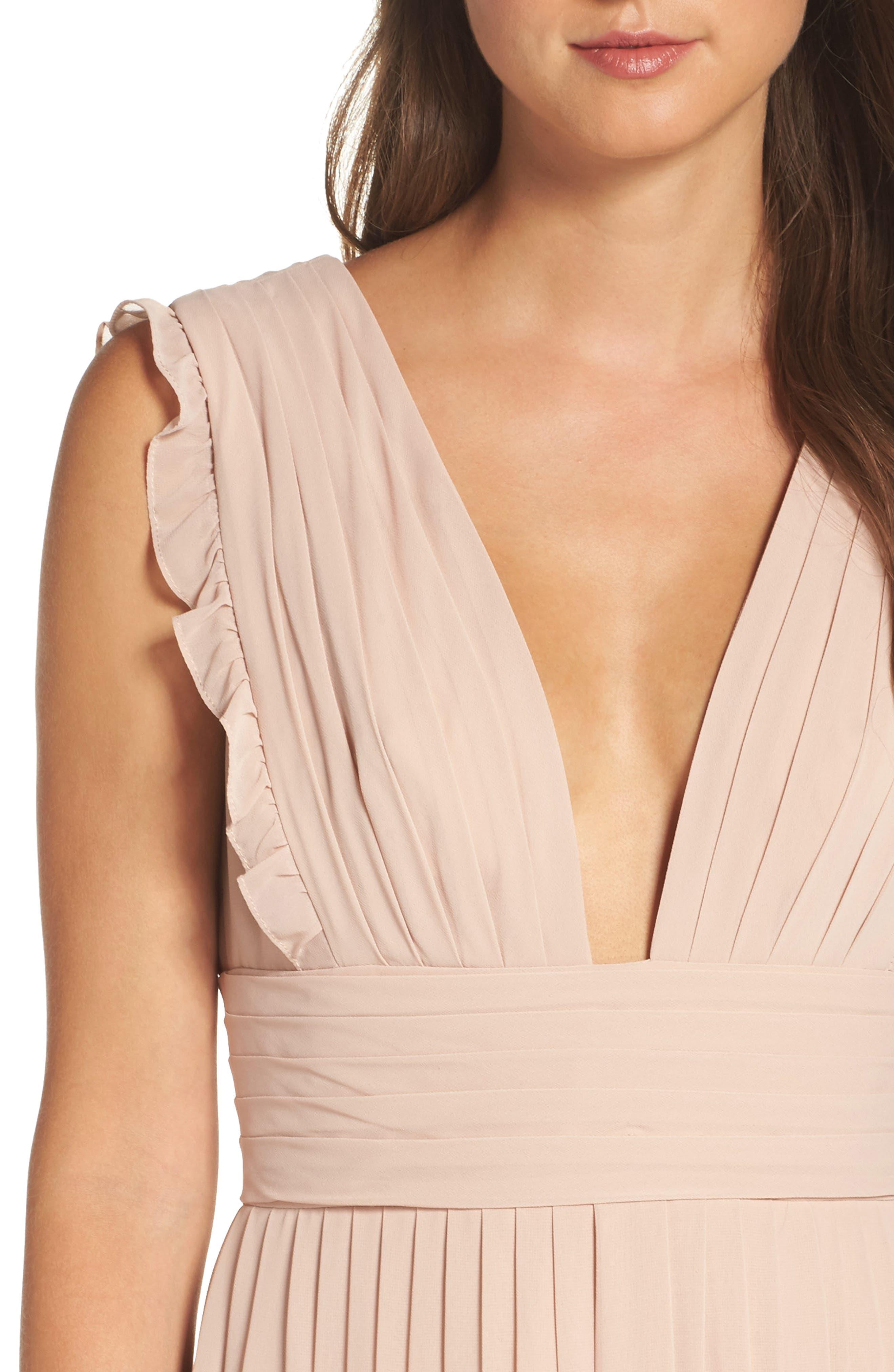 Deep V-Neck Ruffle Pleat Chiffon Gown,                             Alternate thumbnail 20, color,