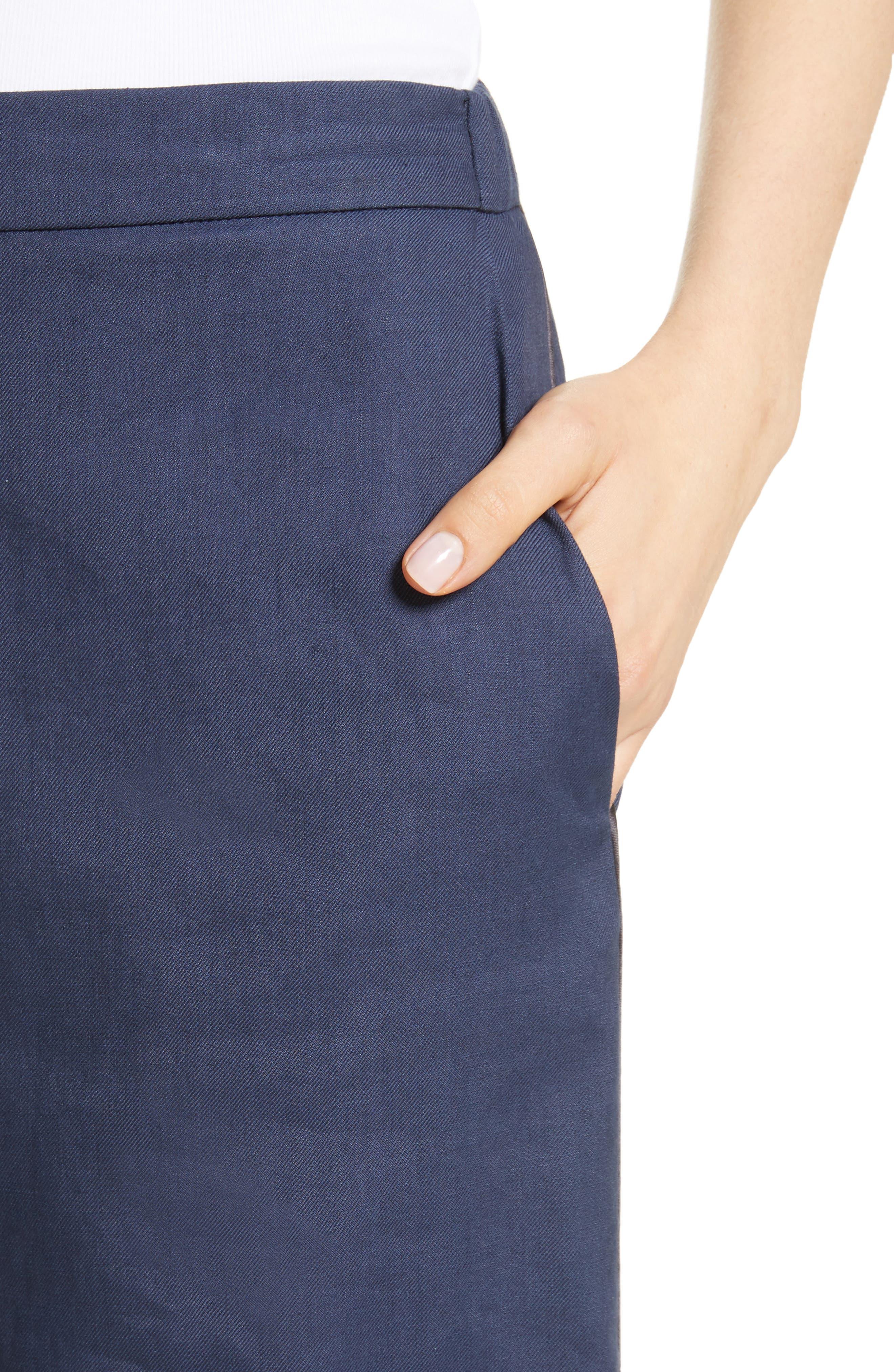 Linen Blend Wide Leg Crop Pants,                             Alternate thumbnail 4, color,                             400