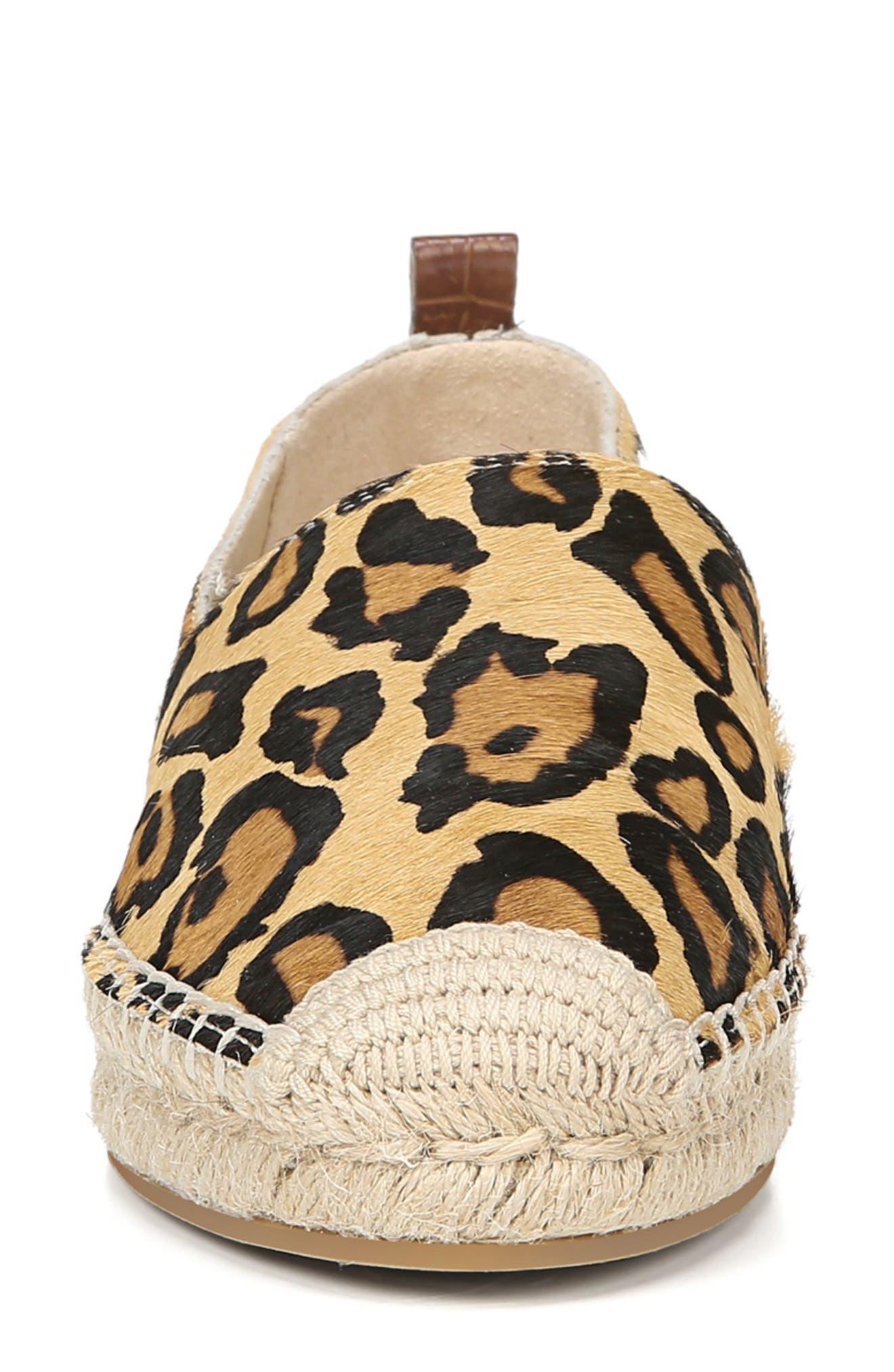 Khloe Genuine Calf Hair Espadrille Flat,                             Alternate thumbnail 4, color,                             NEW NUDE LEOPARD CALF HAIR