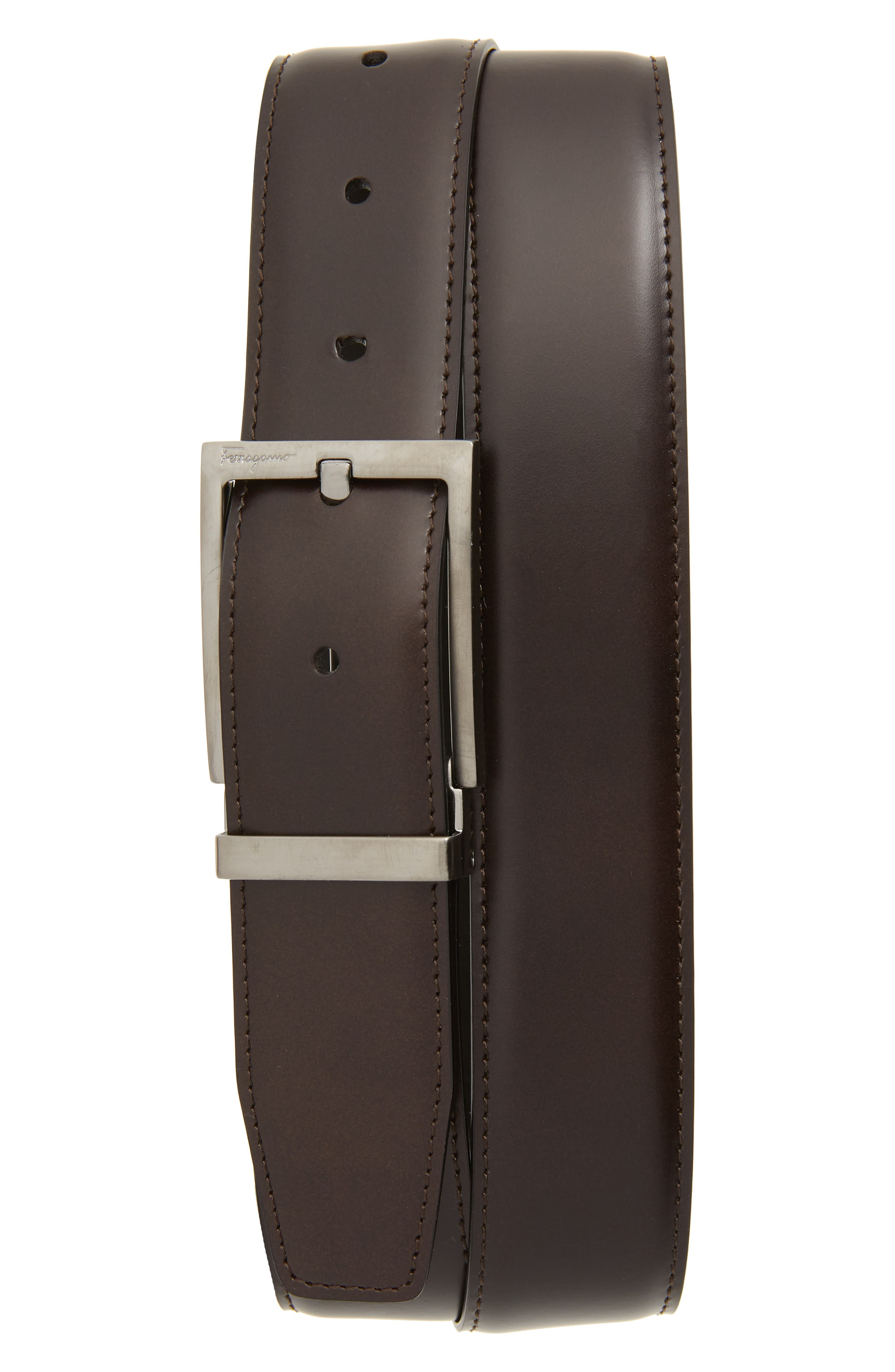 Reversible Leather Belt,                             Main thumbnail 1, color,                             AFRICA/ NERO