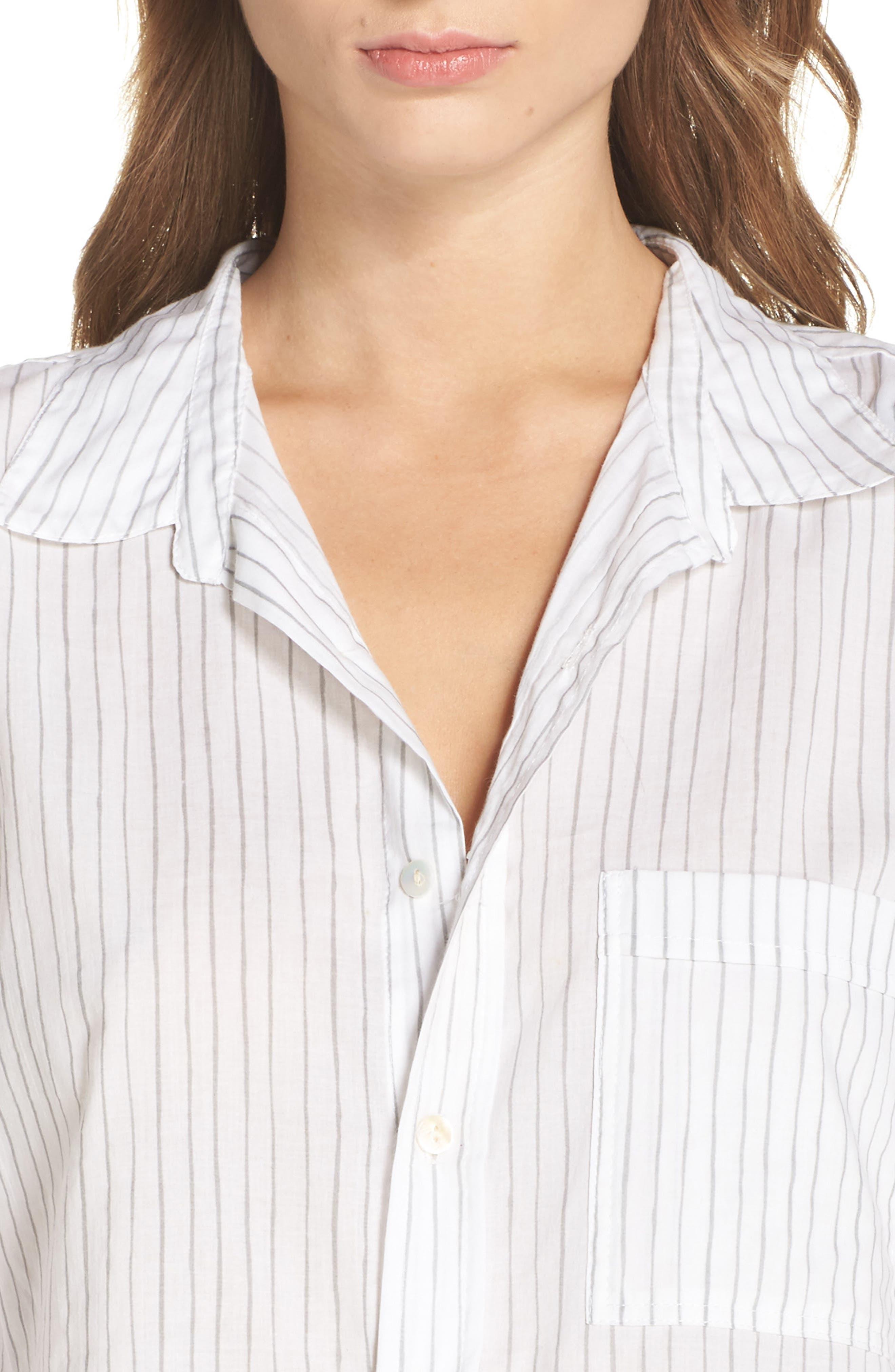 Pinstripe Boyfriend Sleep Shirt,                             Alternate thumbnail 4, color,                             020