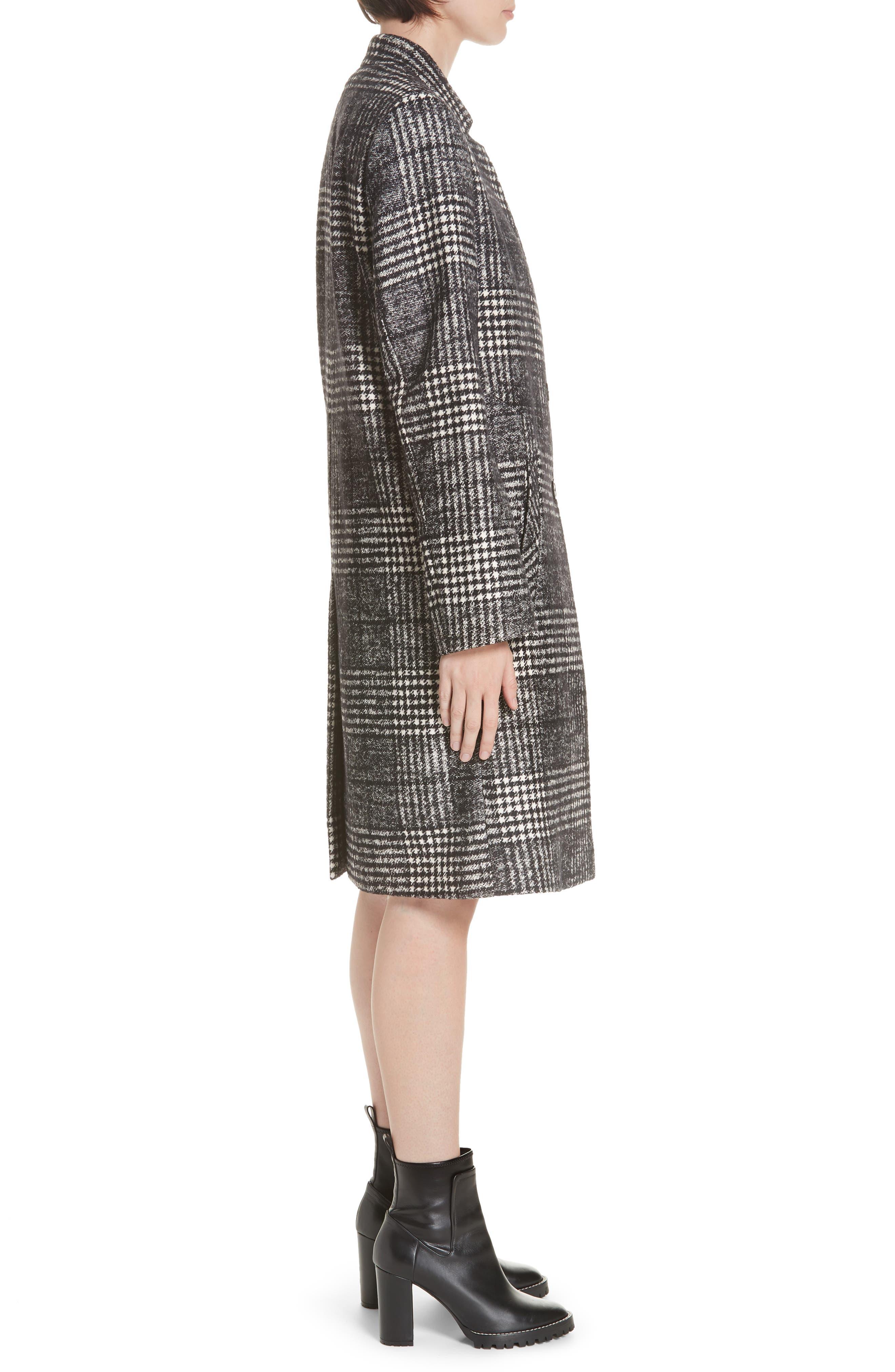 Magrete Bold Check Stretch Cotton Wool Coat,                             Alternate thumbnail 3, color,                             BLACK/ WHITE