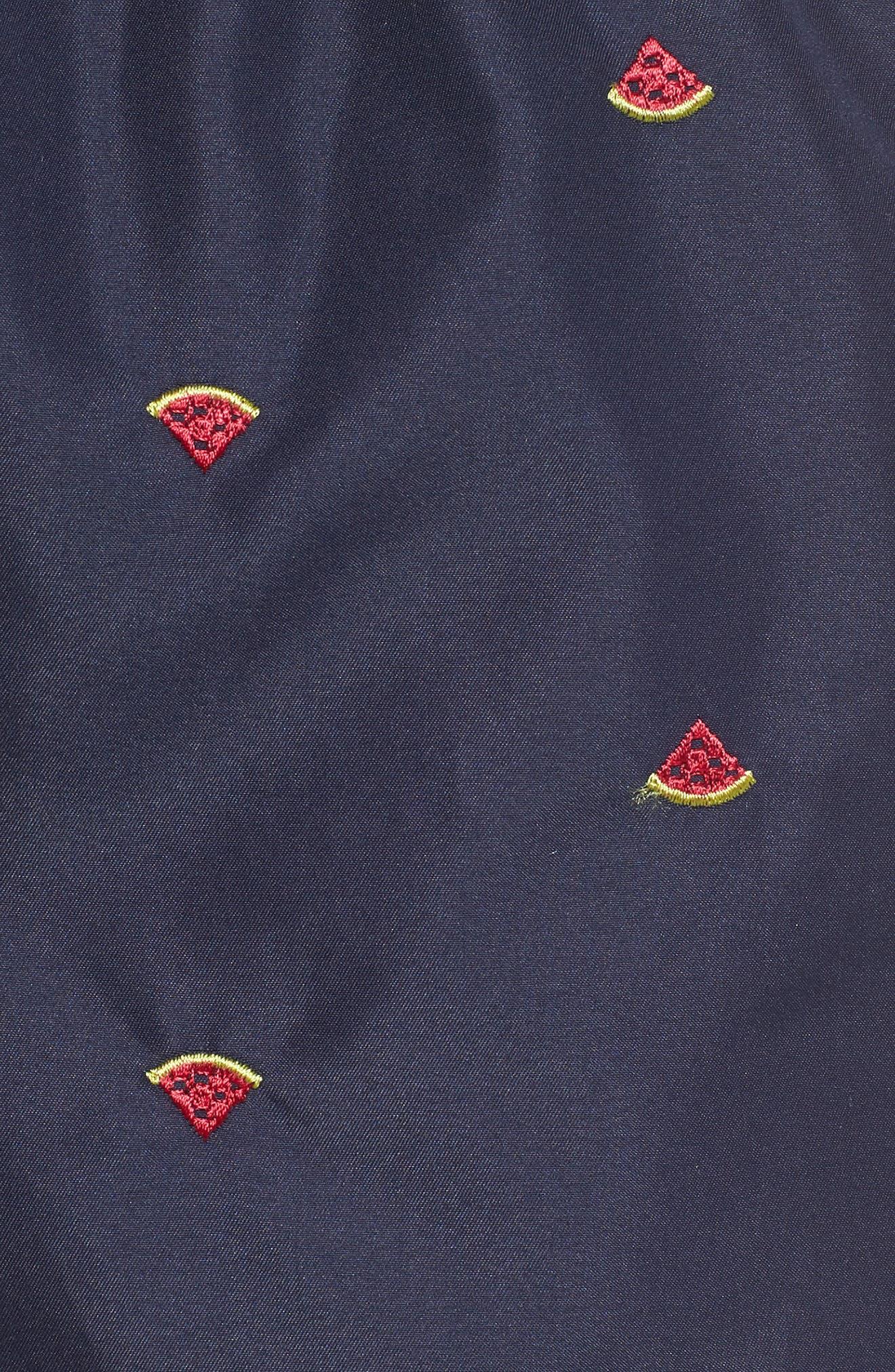 Premium Embroidered Sano Swim Trunks,                             Alternate thumbnail 5, color,                             WATERMELON DRAWING