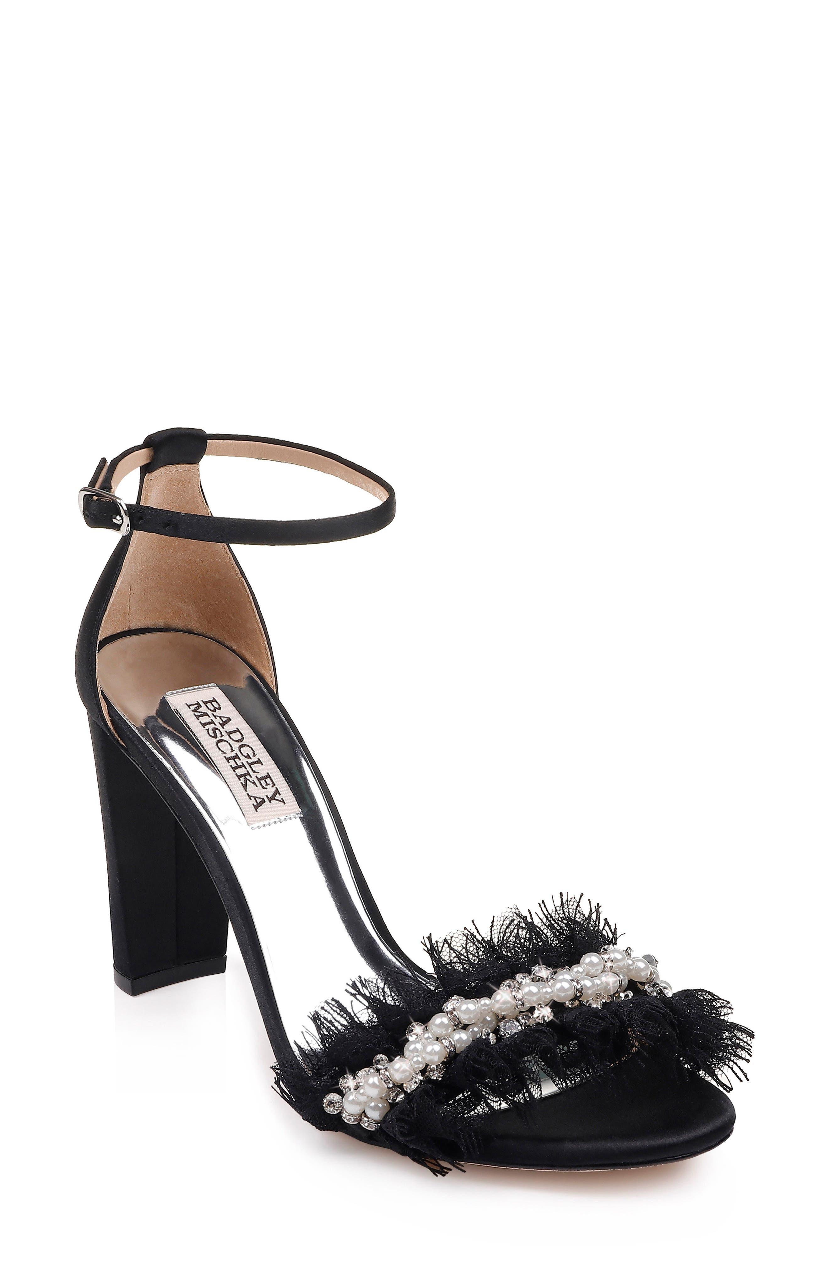 Badgley Mischka Fleur Ankle Strap Sandal,                             Main thumbnail 1, color,                             BLACK SATIN/ CHIFFON