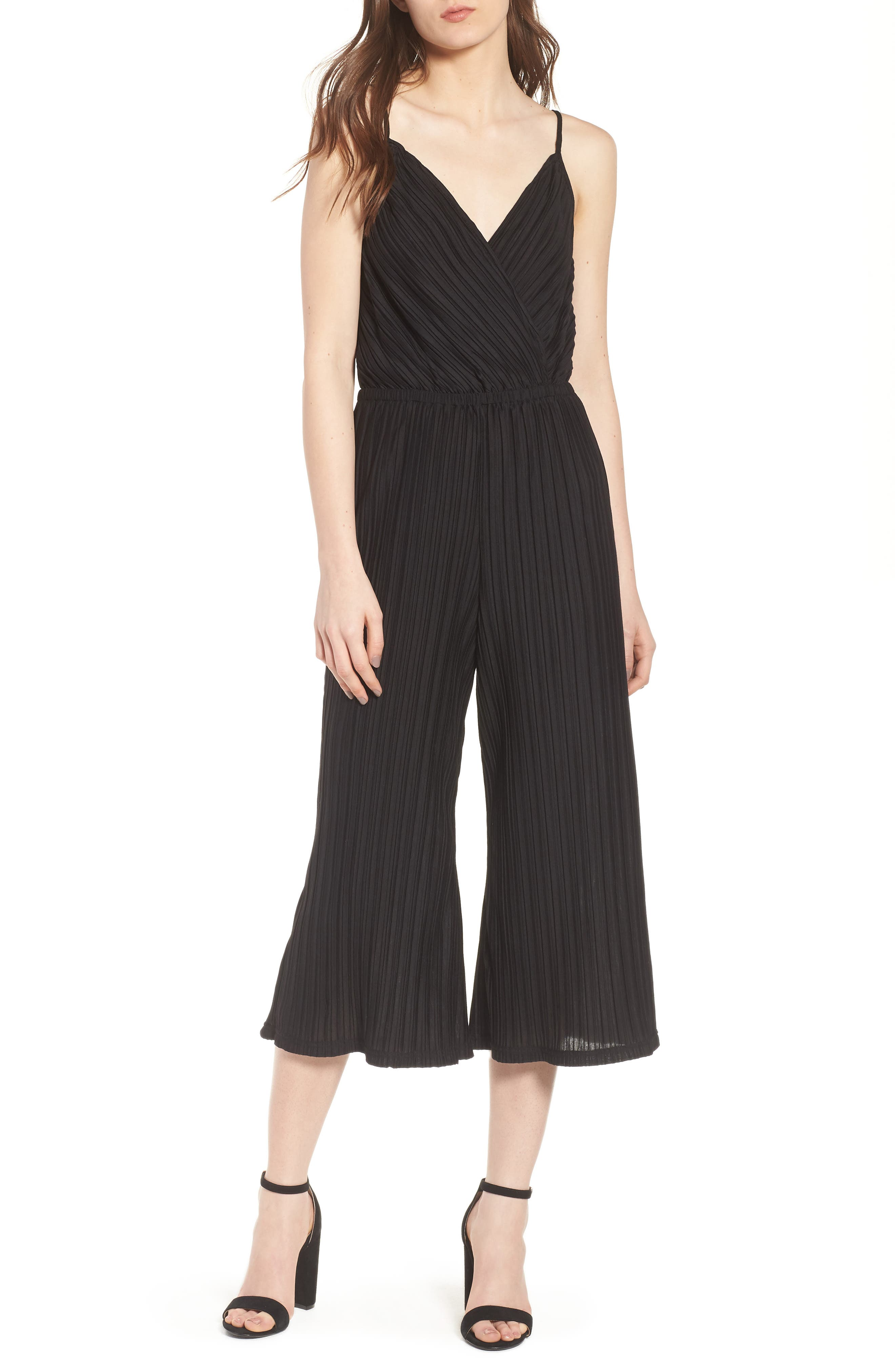 CUPCAKES AND CASHMERE Austine Pleated Jumpsuit, Main, color, 001