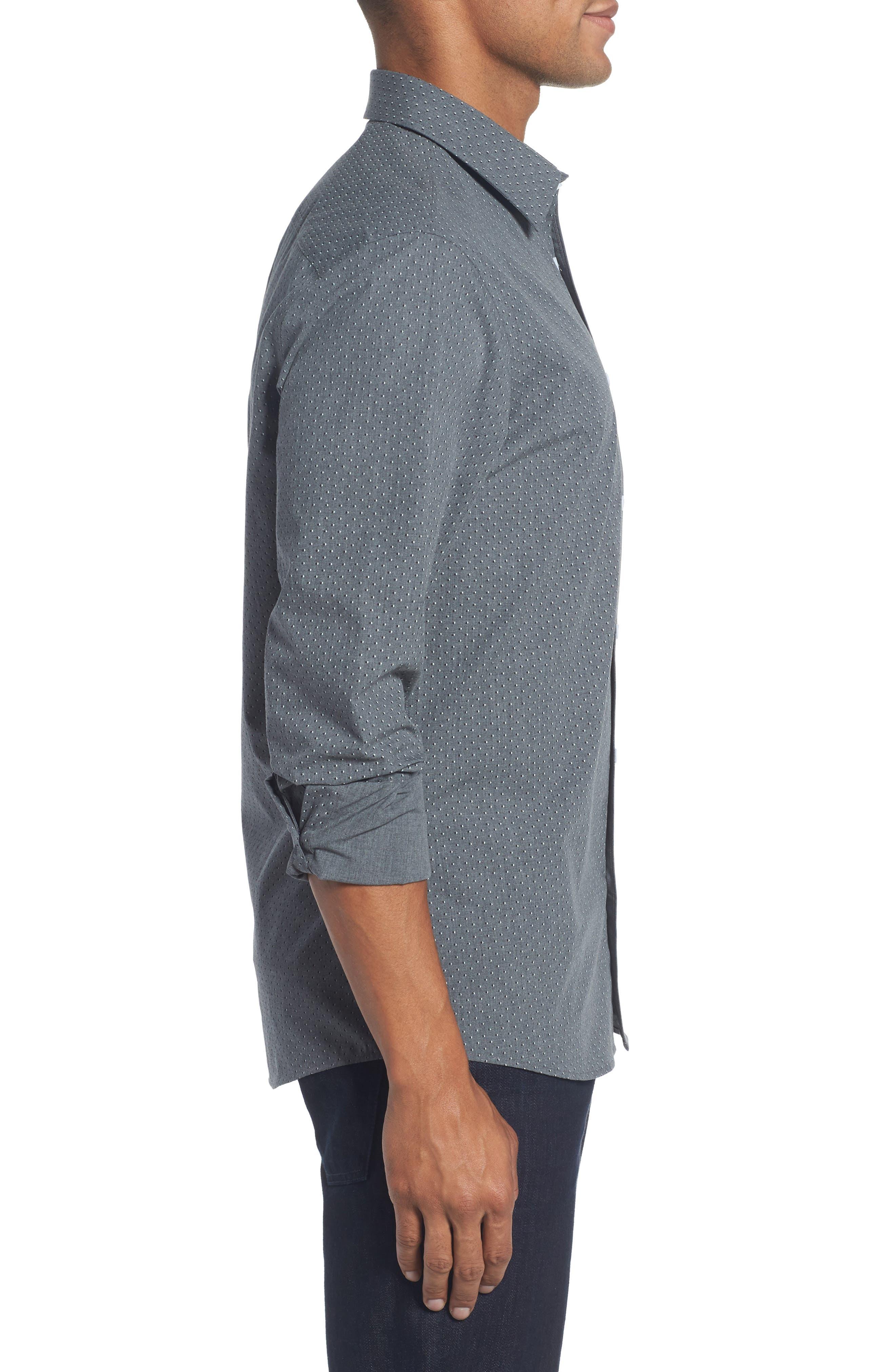 Trim Fit Non-Iron Dot Print Sport Shirt,                             Alternate thumbnail 3, color,                             030