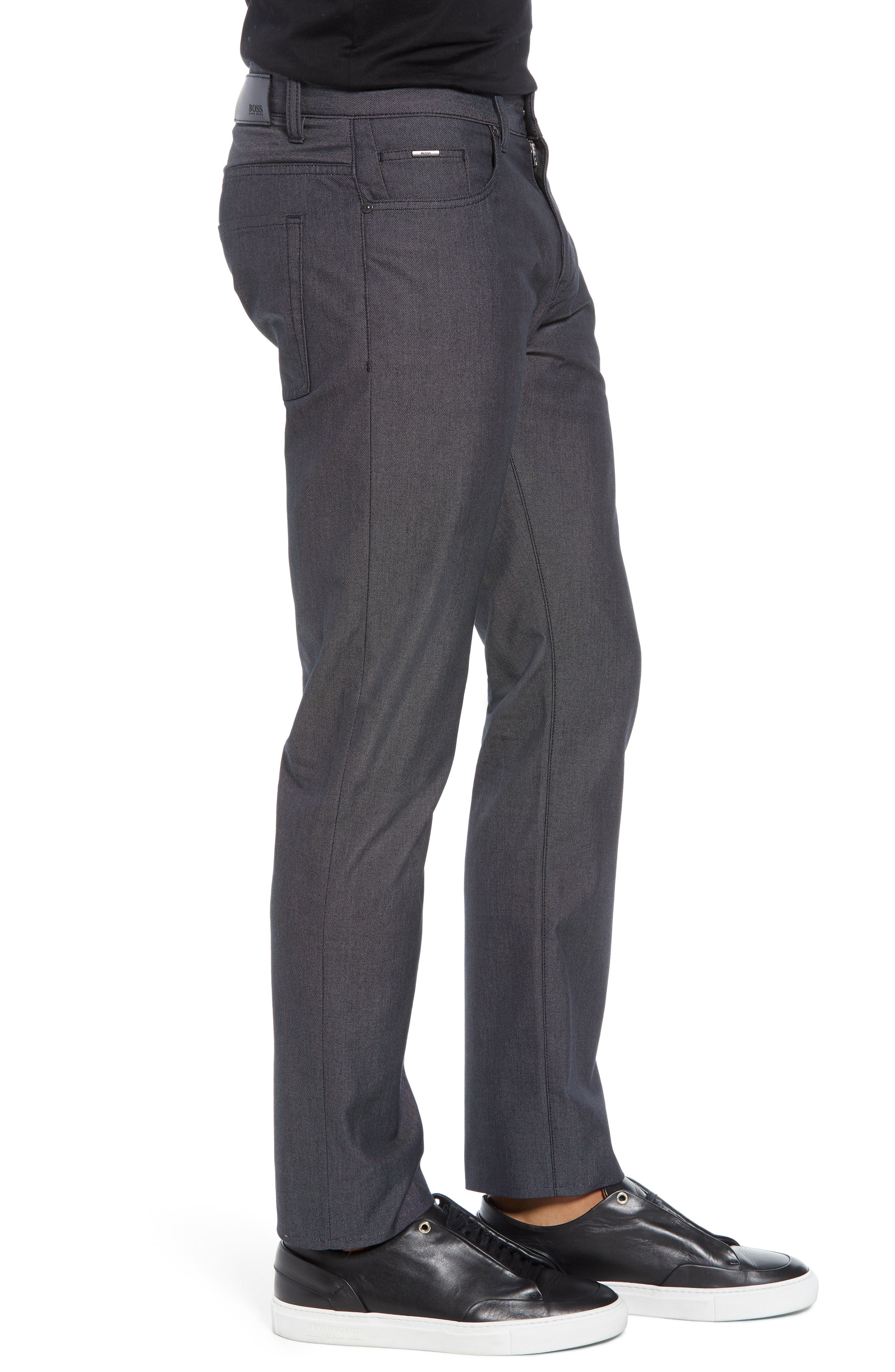 Delaware Slim Fit Pin Dot Pants,                             Alternate thumbnail 3, color,                             BLACK
