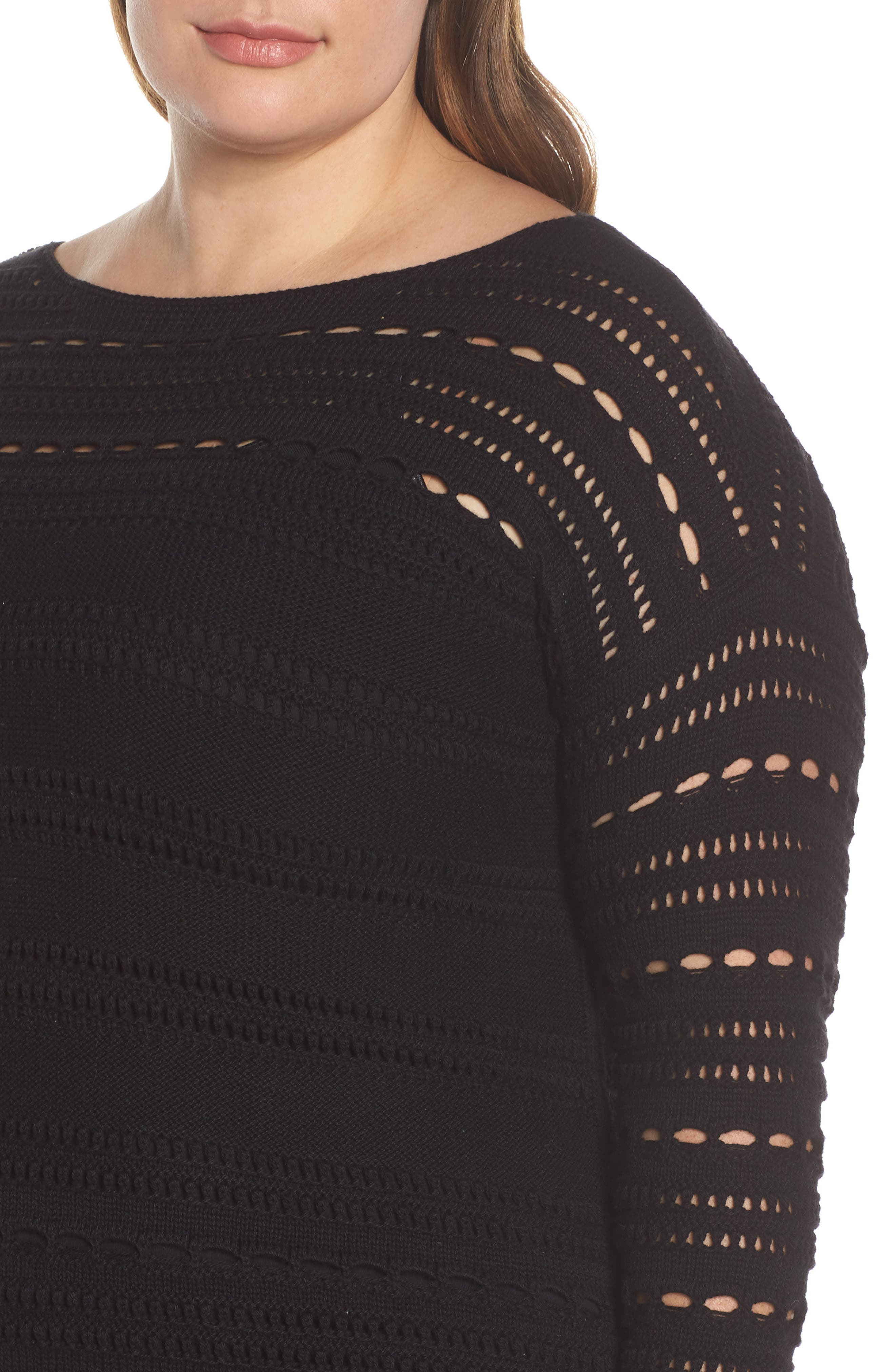 Open Stitch Cotton Sweater,                             Alternate thumbnail 4, color,                             RICH BLACK