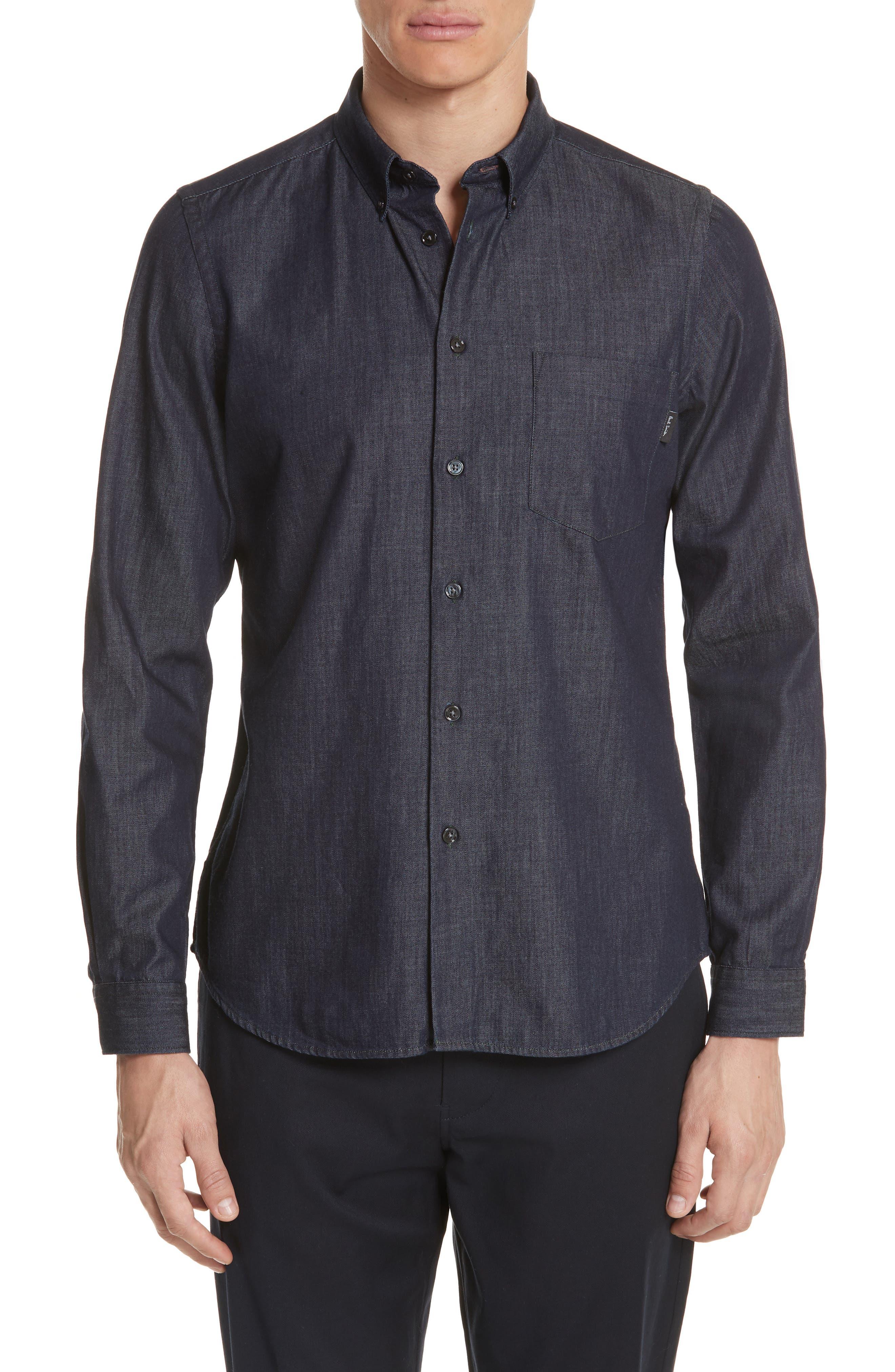 Denim Shirt,                         Main,                         color, NAVY