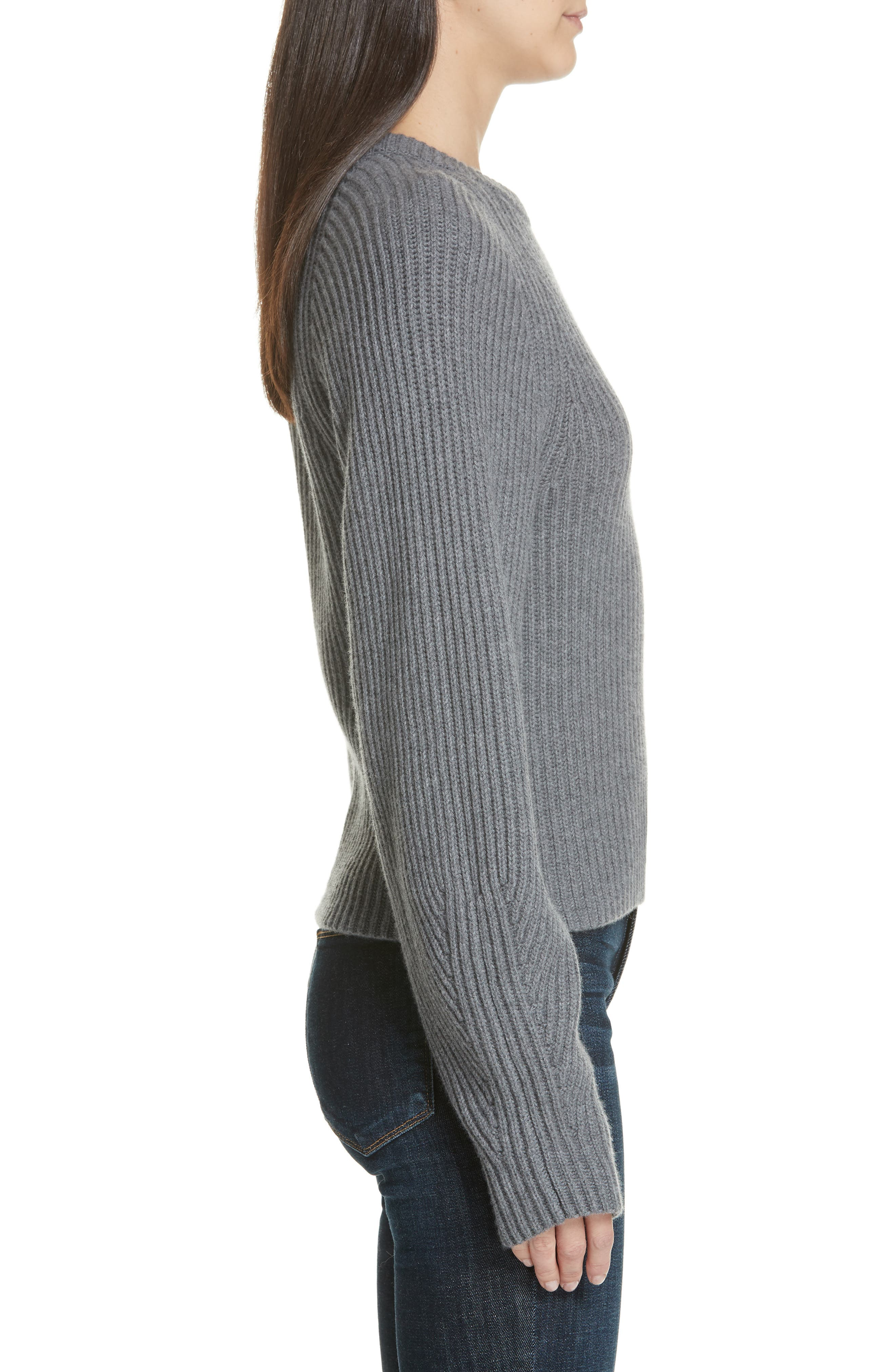 Sculpted Sleeve Shaker Stitch Merino Wool Sweater,                             Alternate thumbnail 3, color,                             CHARCOAL