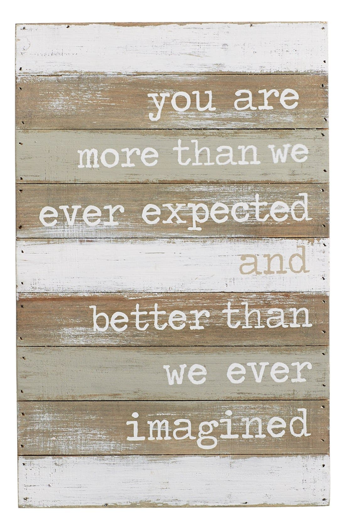 'Better Than We Ever Imagined' Wood Wall Art,                             Main thumbnail 1, color,                             GREY