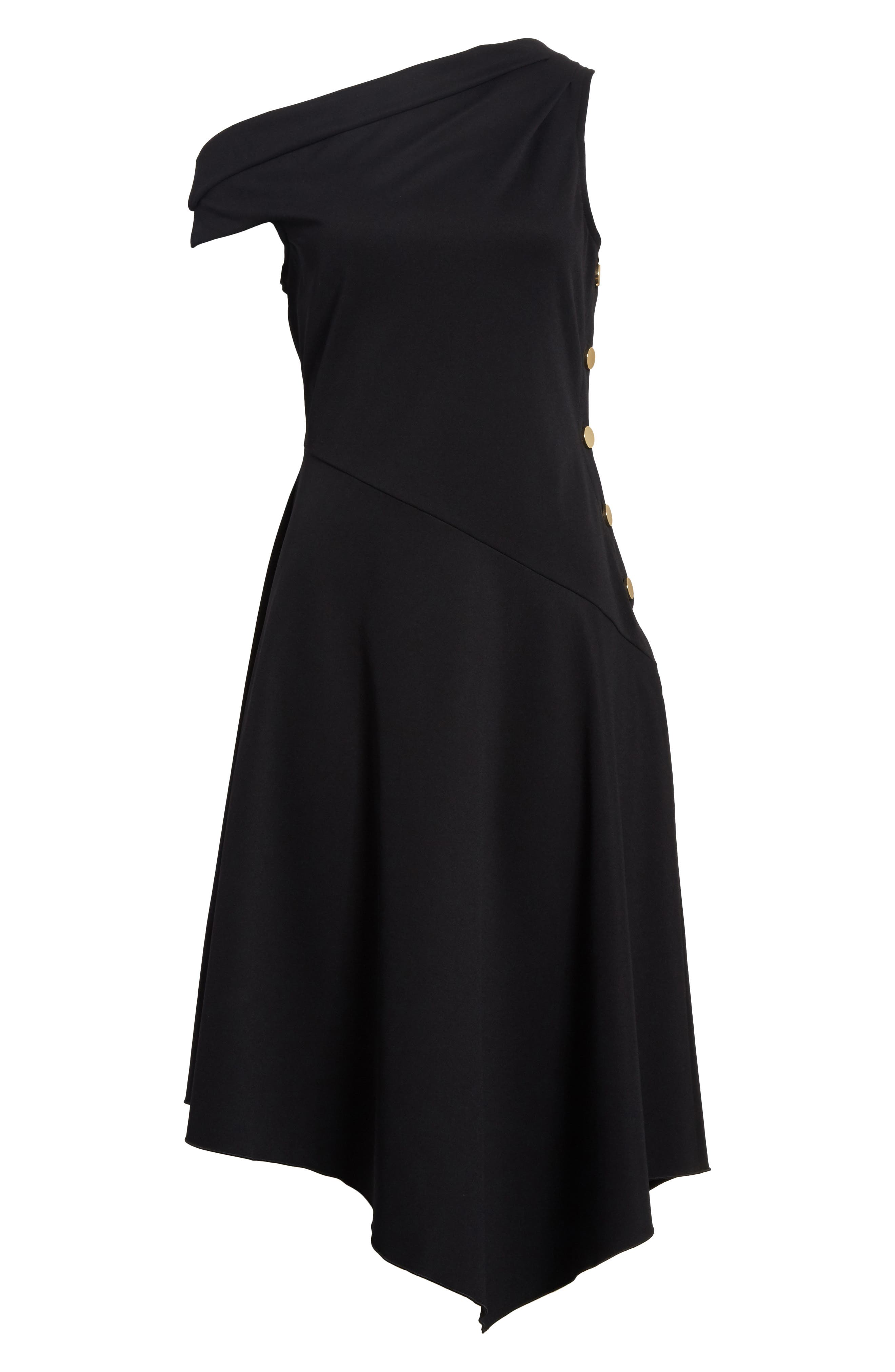 One-Shoulder Midi Dress,                             Alternate thumbnail 6, color,                             001