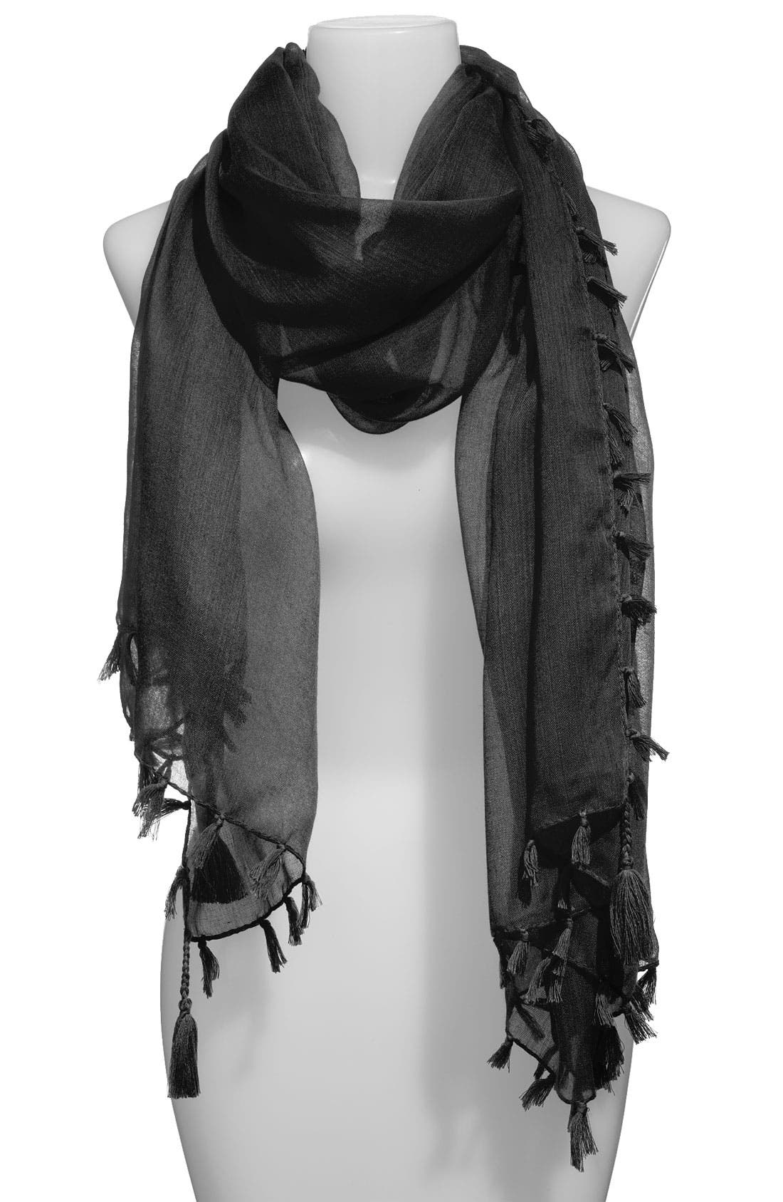 Sheer Fringed Scarf,                         Main,                         color, 001