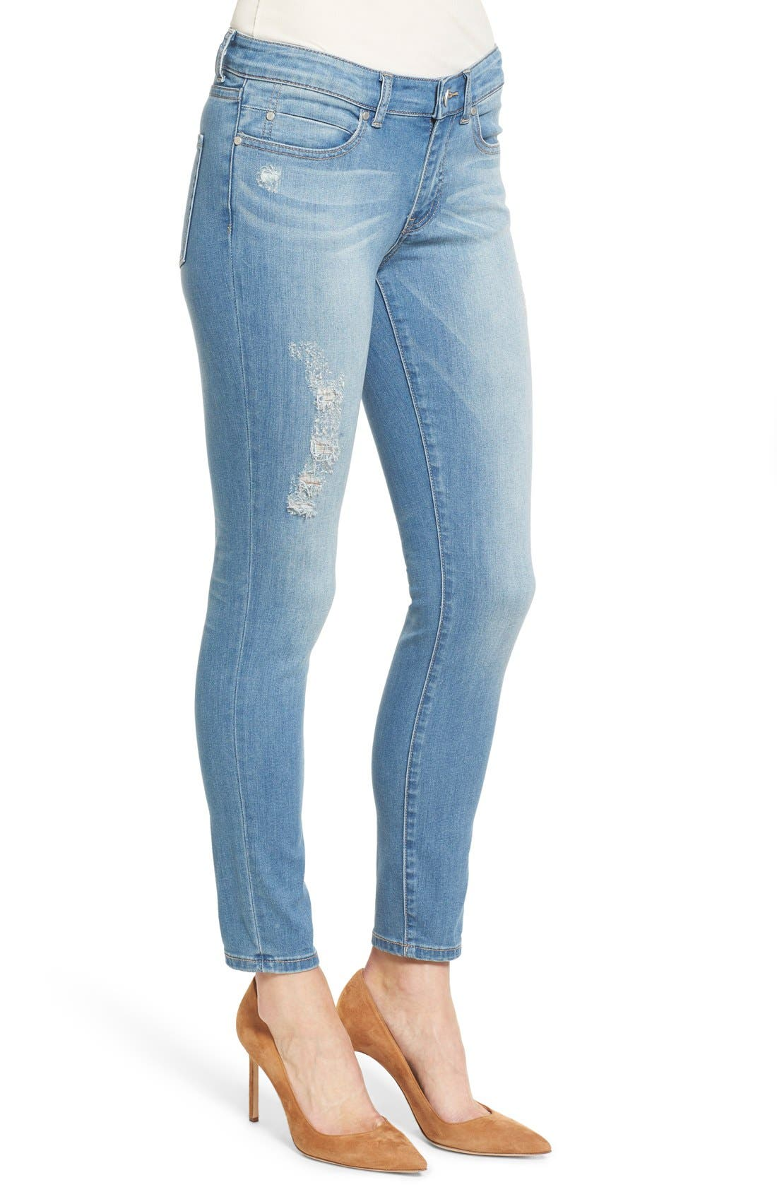 Distressed Ankle Skinny Jeans,                             Alternate thumbnail 5, color,                             400