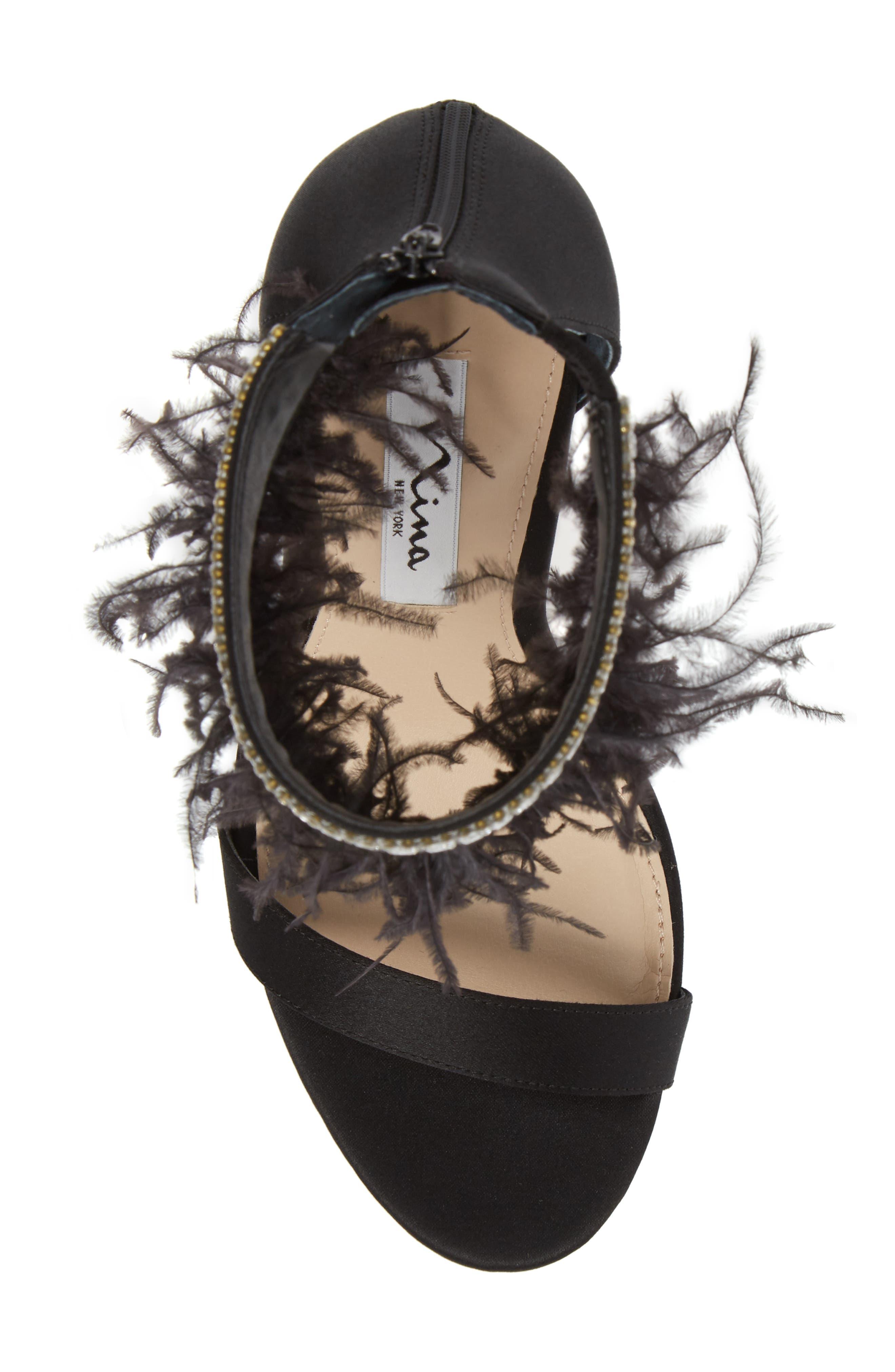 Fran Embellished Feather Sandal,                             Alternate thumbnail 5, color,                             BLACK SATIN