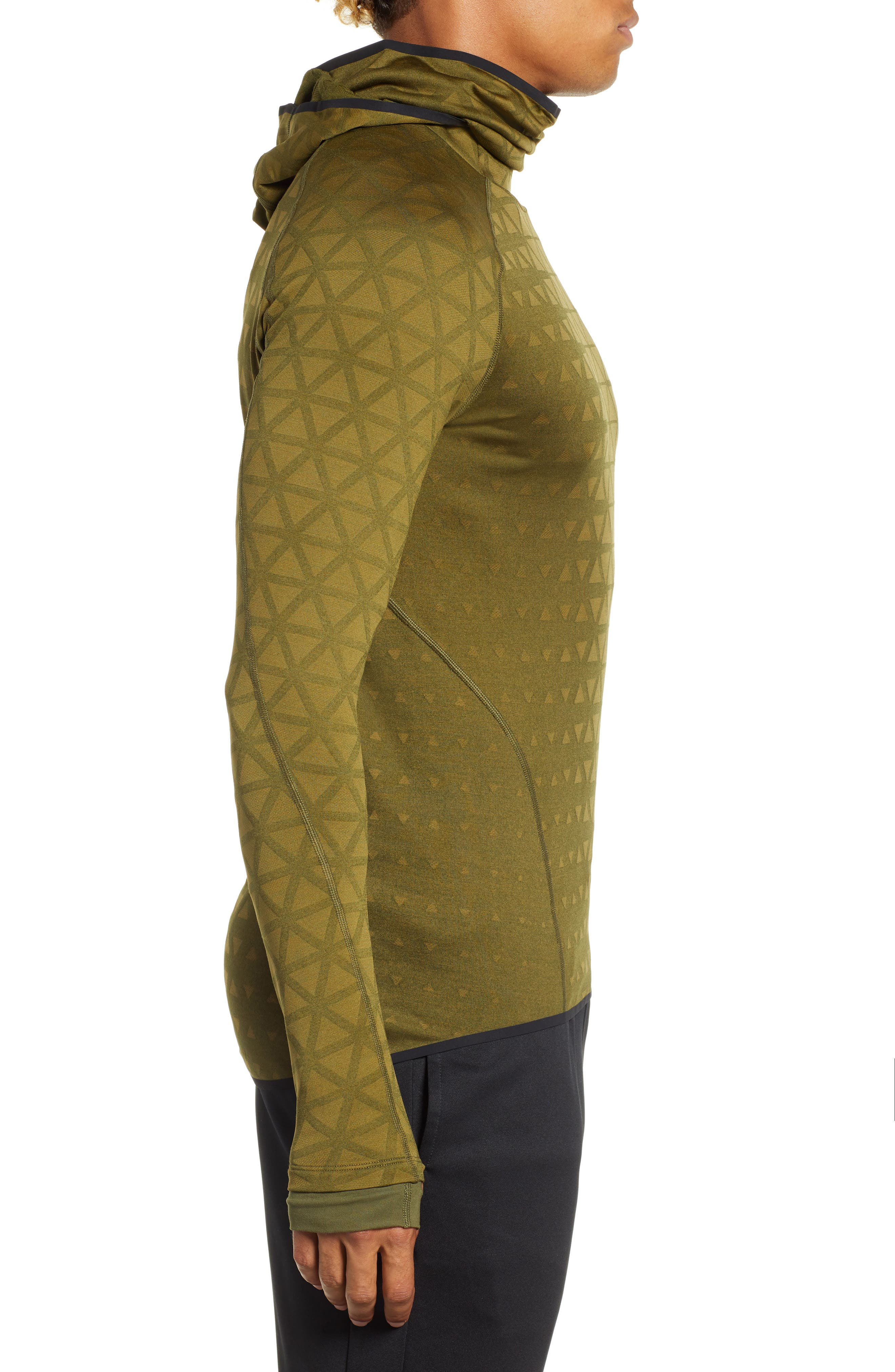 Therma Sphere Hooded Training Top,                             Alternate thumbnail 3, color,                             OLIVE/ OLIVE FLAK/ BLACK