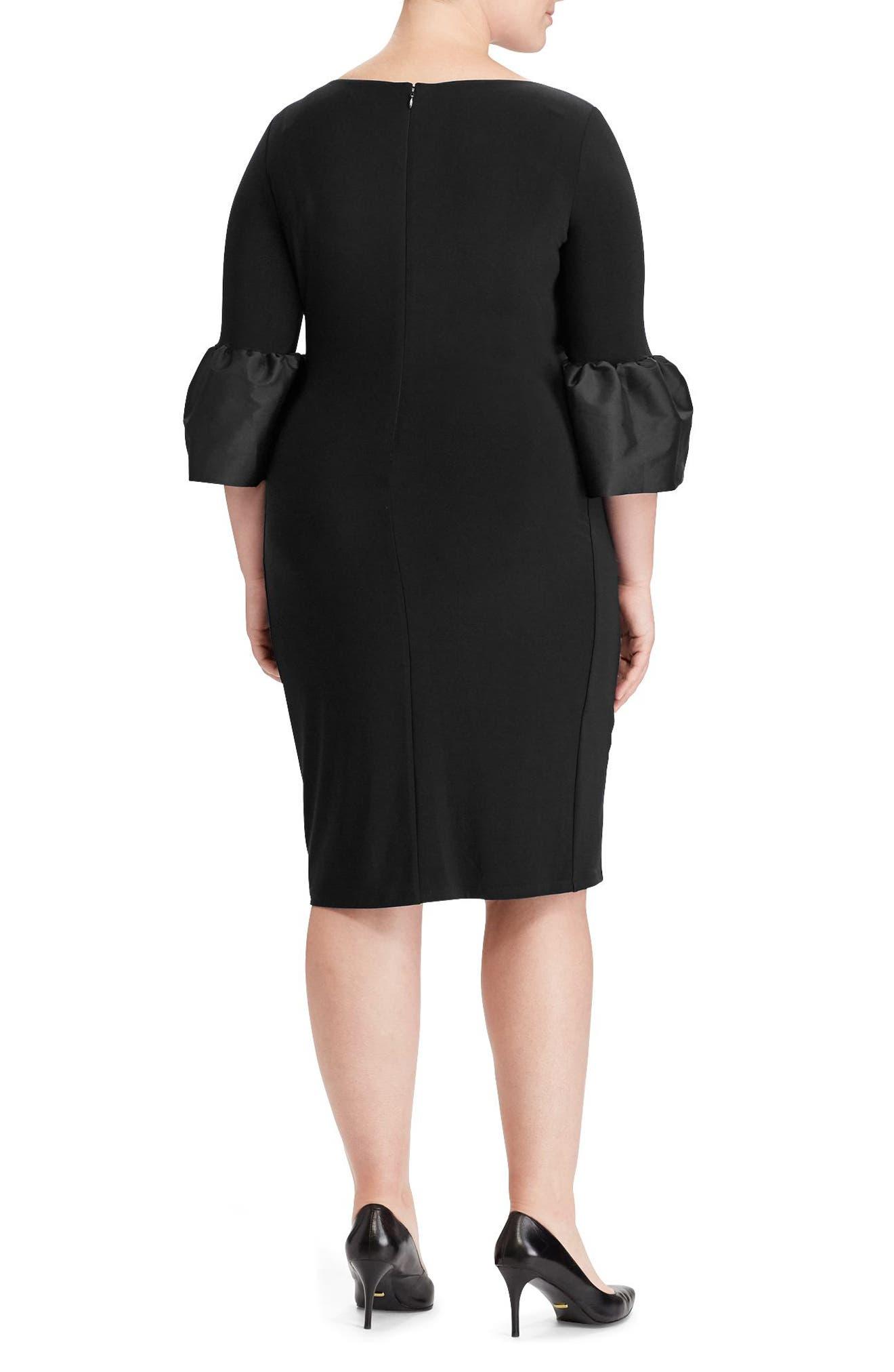 Taffeta Cuff Jersey Dress,                             Alternate thumbnail 2, color,                             001