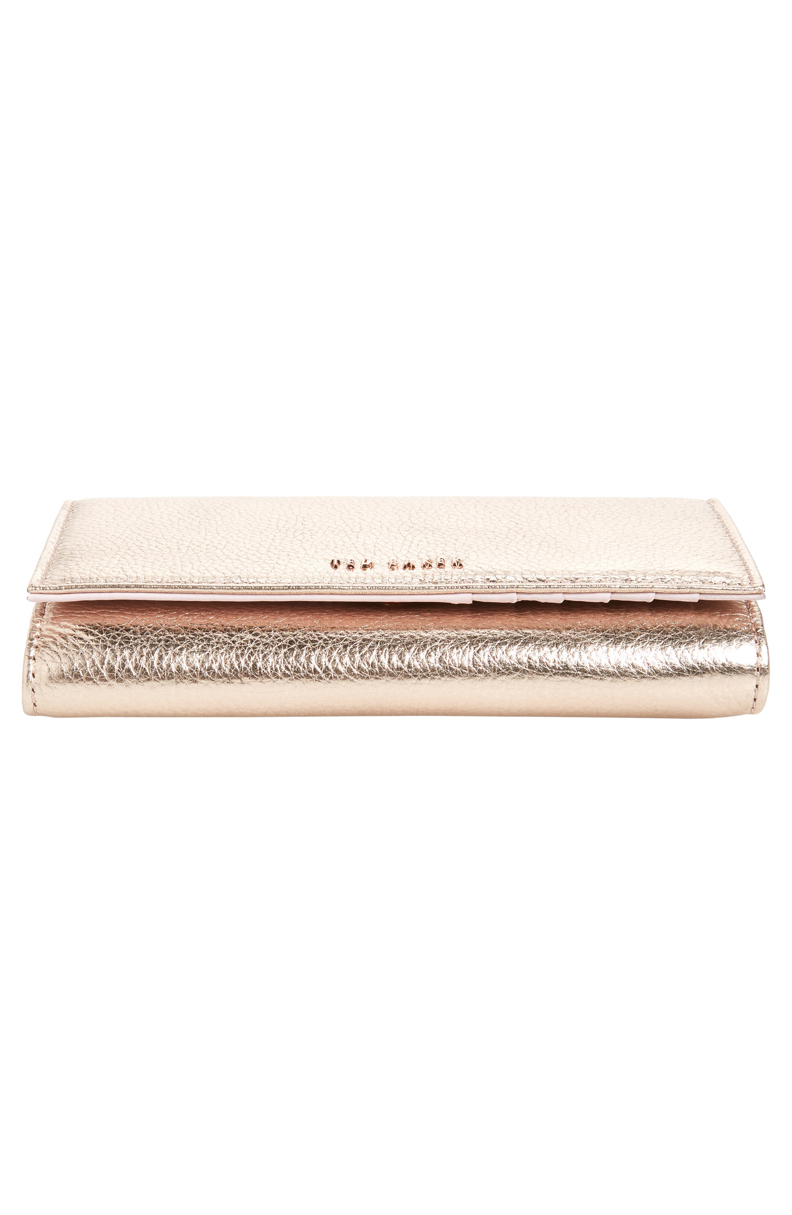 Holli French Leather Wallet,                             Alternate thumbnail 6, color,                             ROSE GOLD