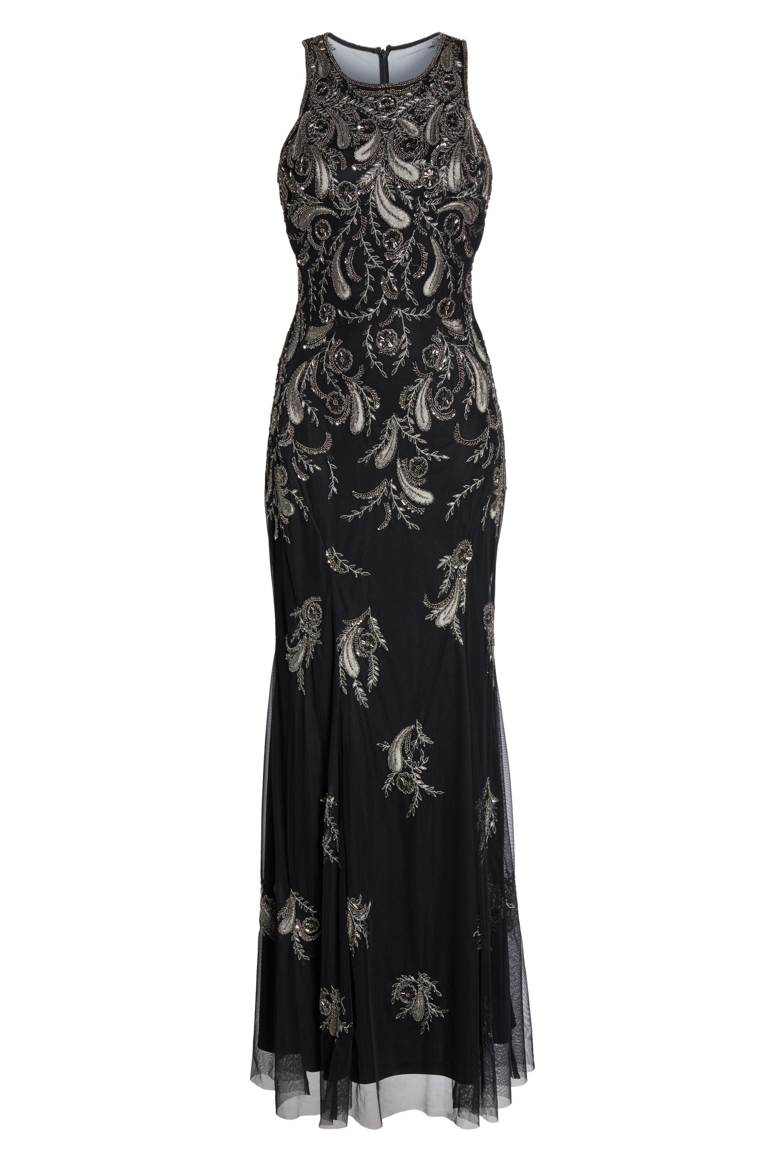 Embellished Sheer Back Maxi Dress,                             Alternate thumbnail 6, color,