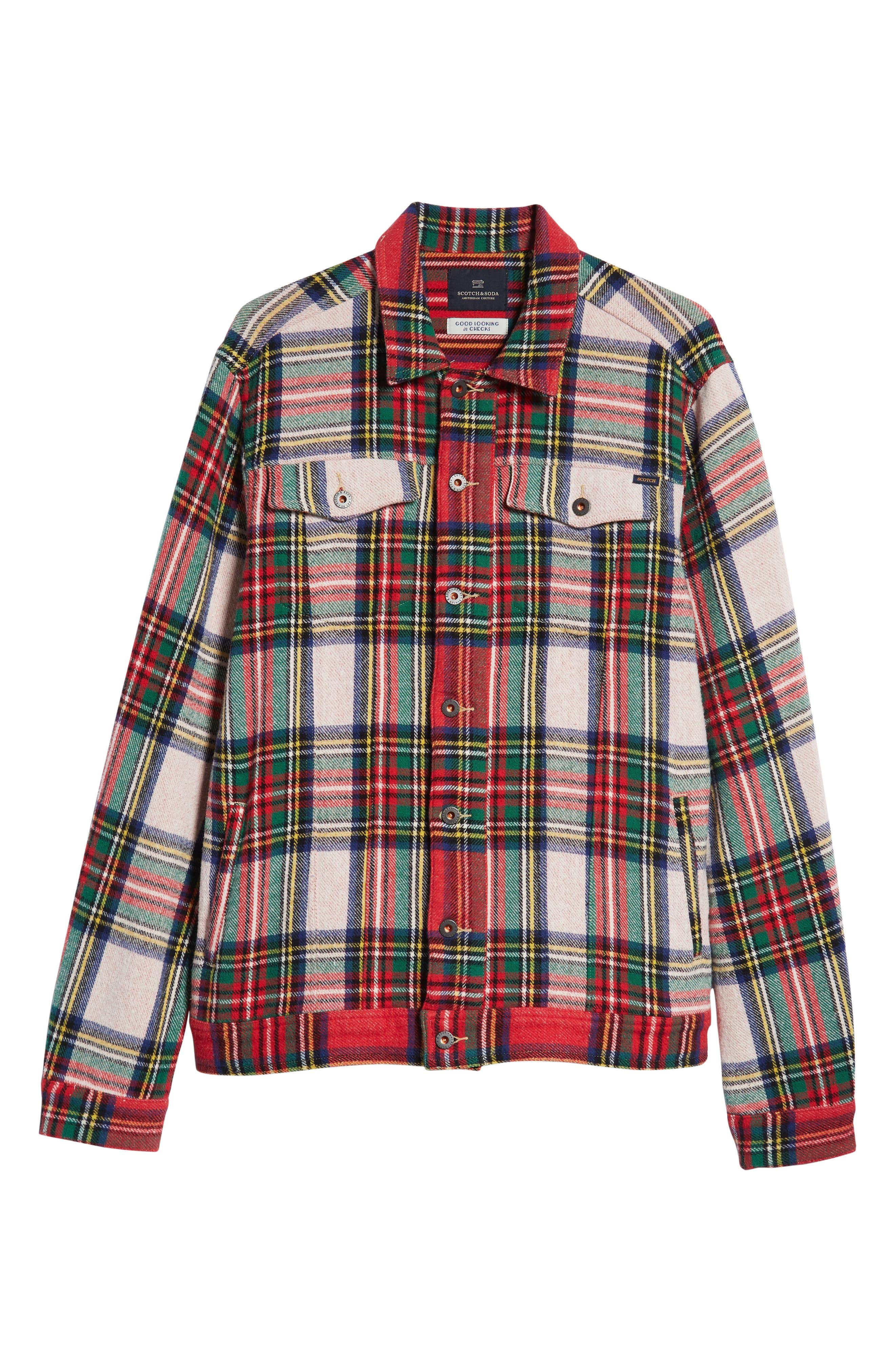 Tartan Plaid Trucker Jacket,                             Alternate thumbnail 6, color,                             COMBO A