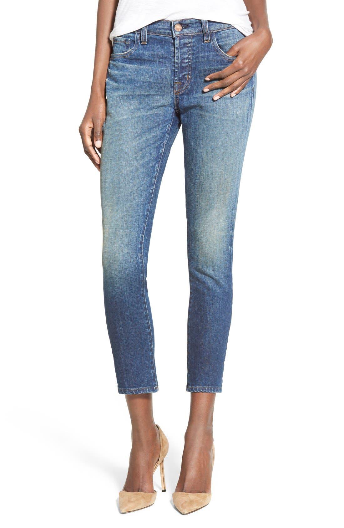 'Sadey' Slim Straight Crop Jeans,                             Main thumbnail 1, color,