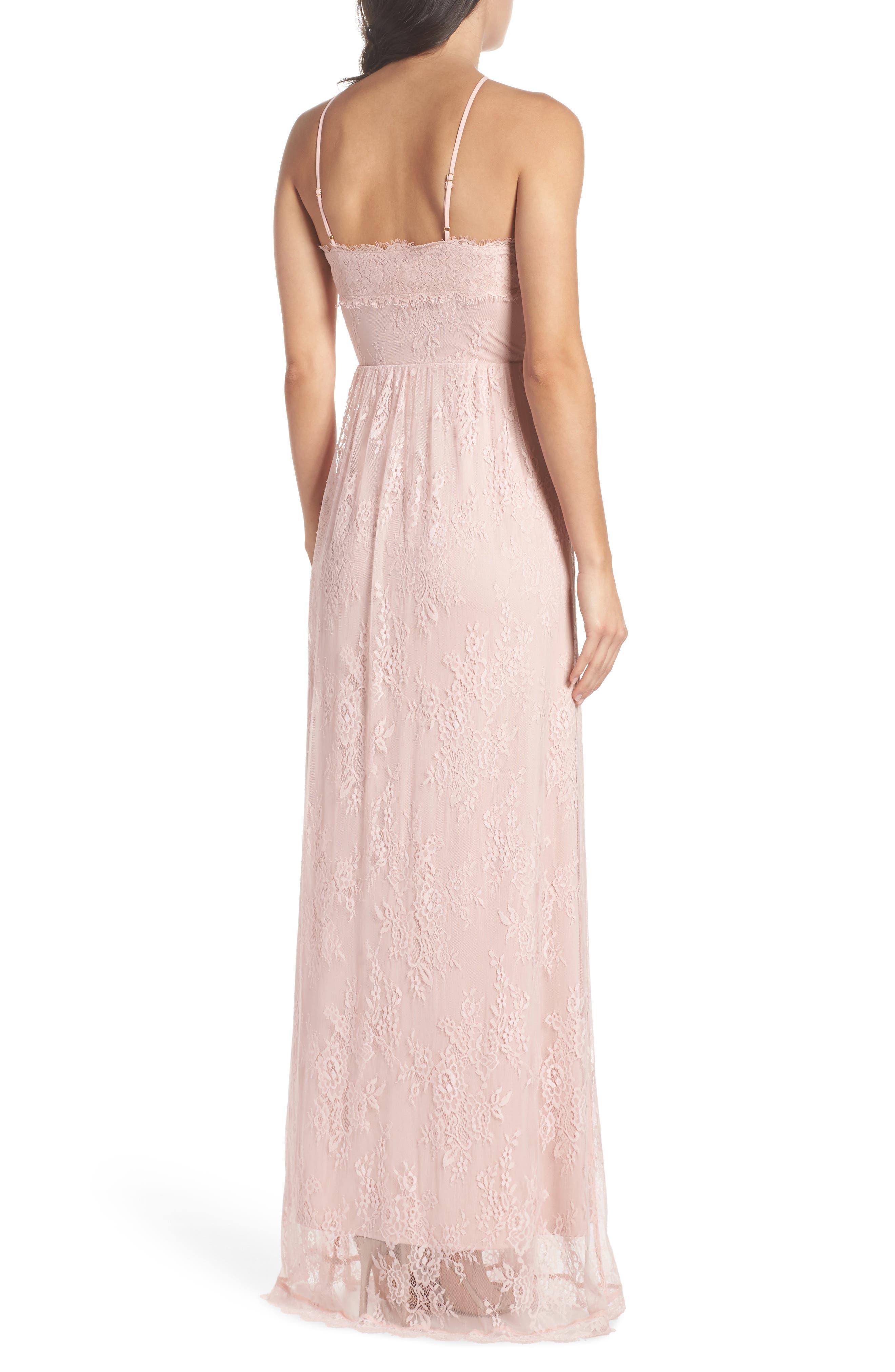 Eloise Halter Neck Lace Gown,                             Alternate thumbnail 2, color,                             ROSE QUARTZ
