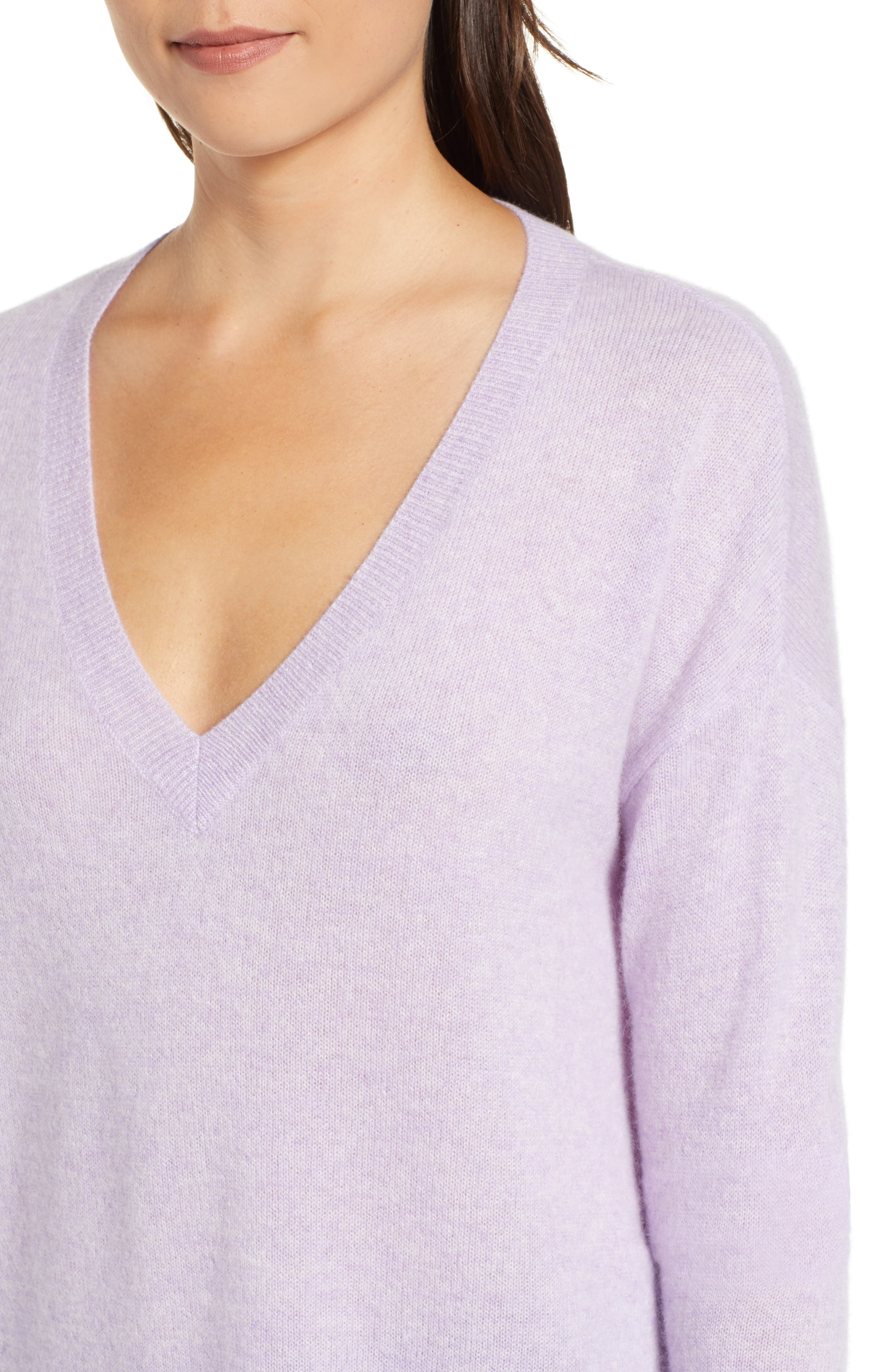 Relaxed V-Neck Cashmere Sweater,                             Alternate thumbnail 4, color,                             LAVENDER SWEET