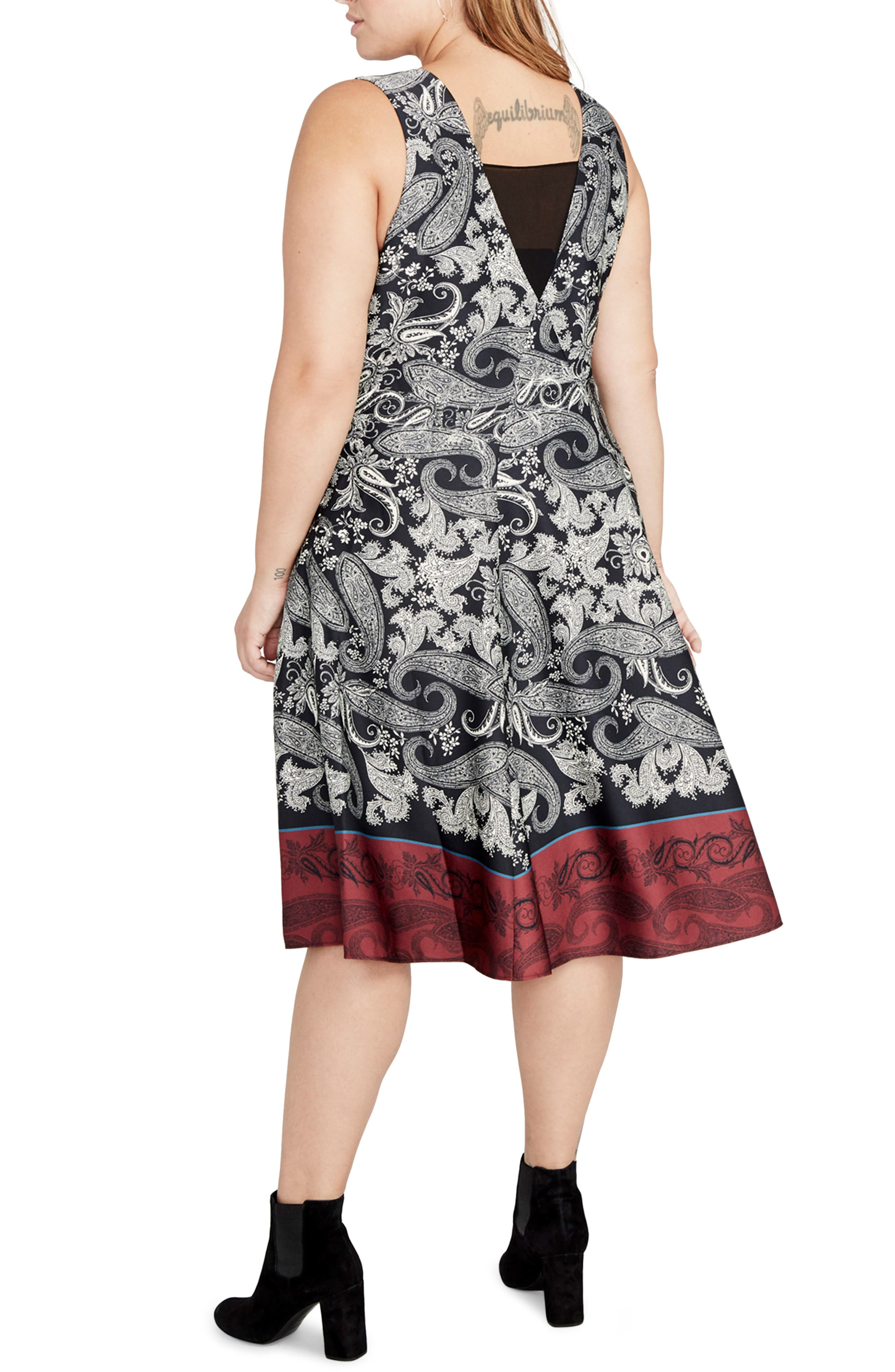 Paisley Fit & Flare Dress,                             Alternate thumbnail 2, color,                             001
