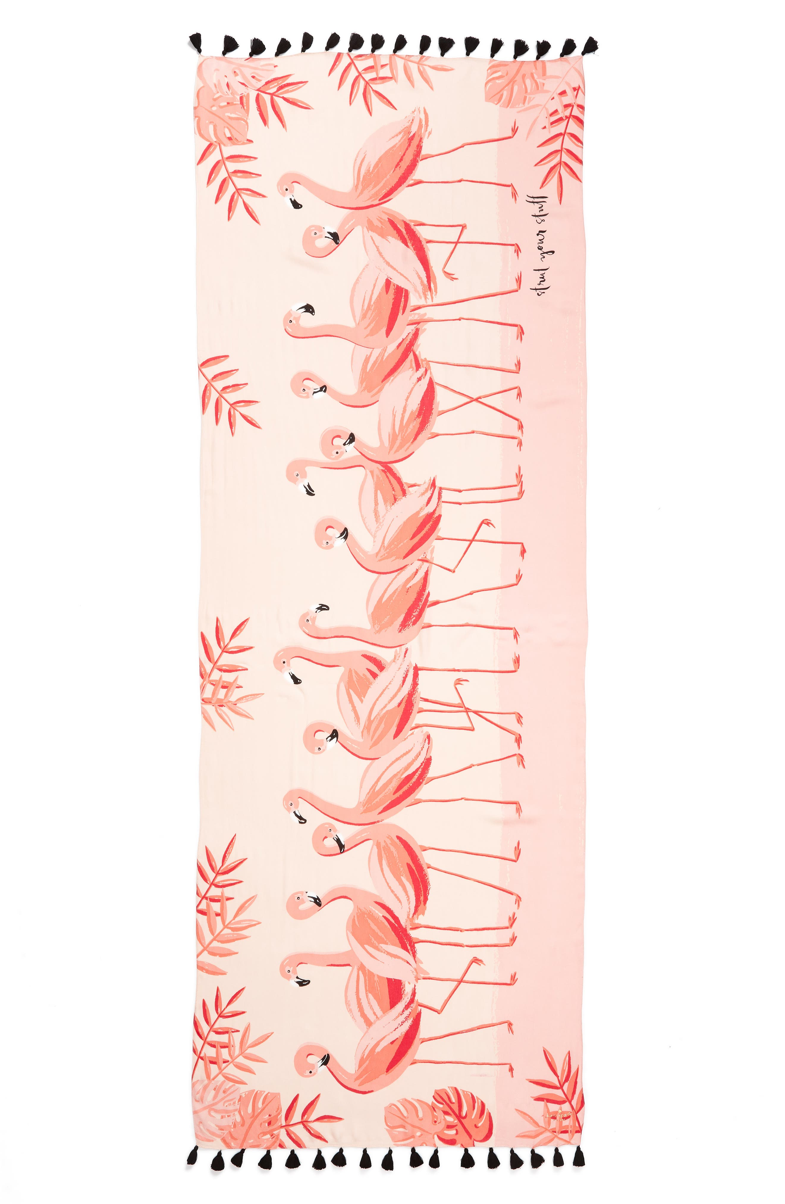 flamingo scarf,                             Alternate thumbnail 3, color,                             APRICOT SORBET