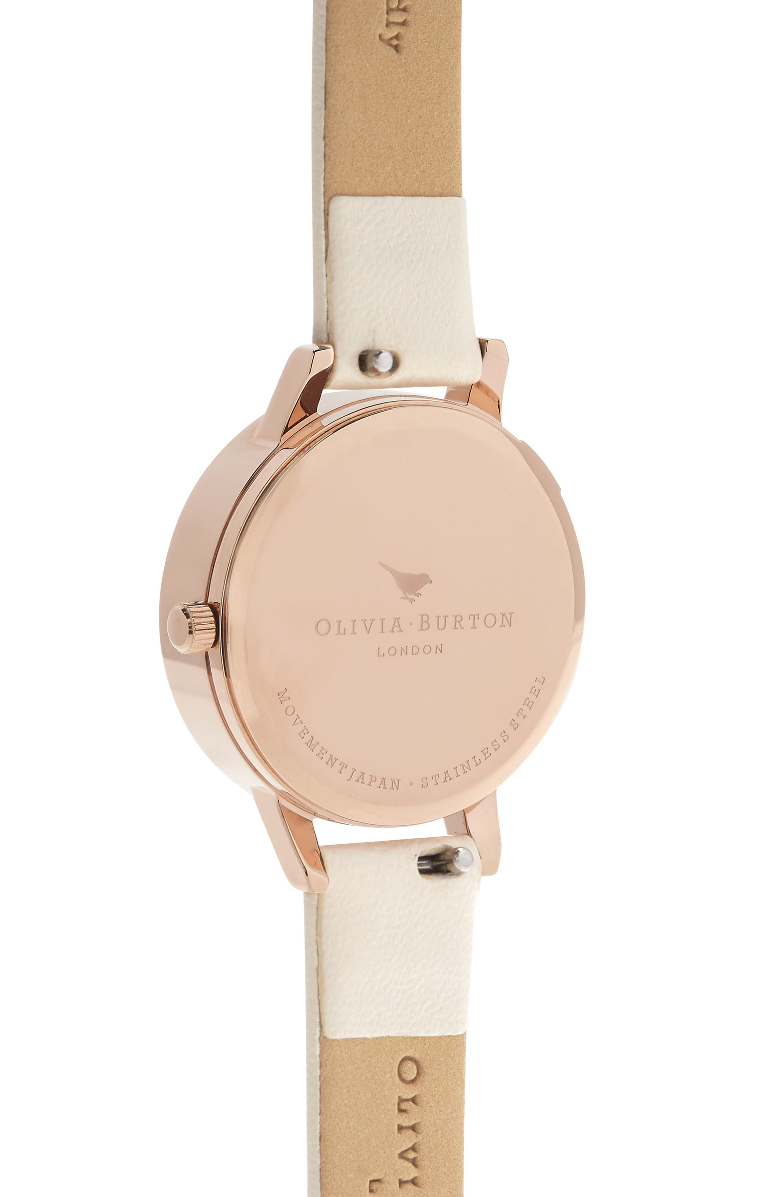 3D Daisey Faux Leather Strap Watch, 30mm,                             Alternate thumbnail 2, color,                             NUDE/ DAISY/ ROSE GOLD