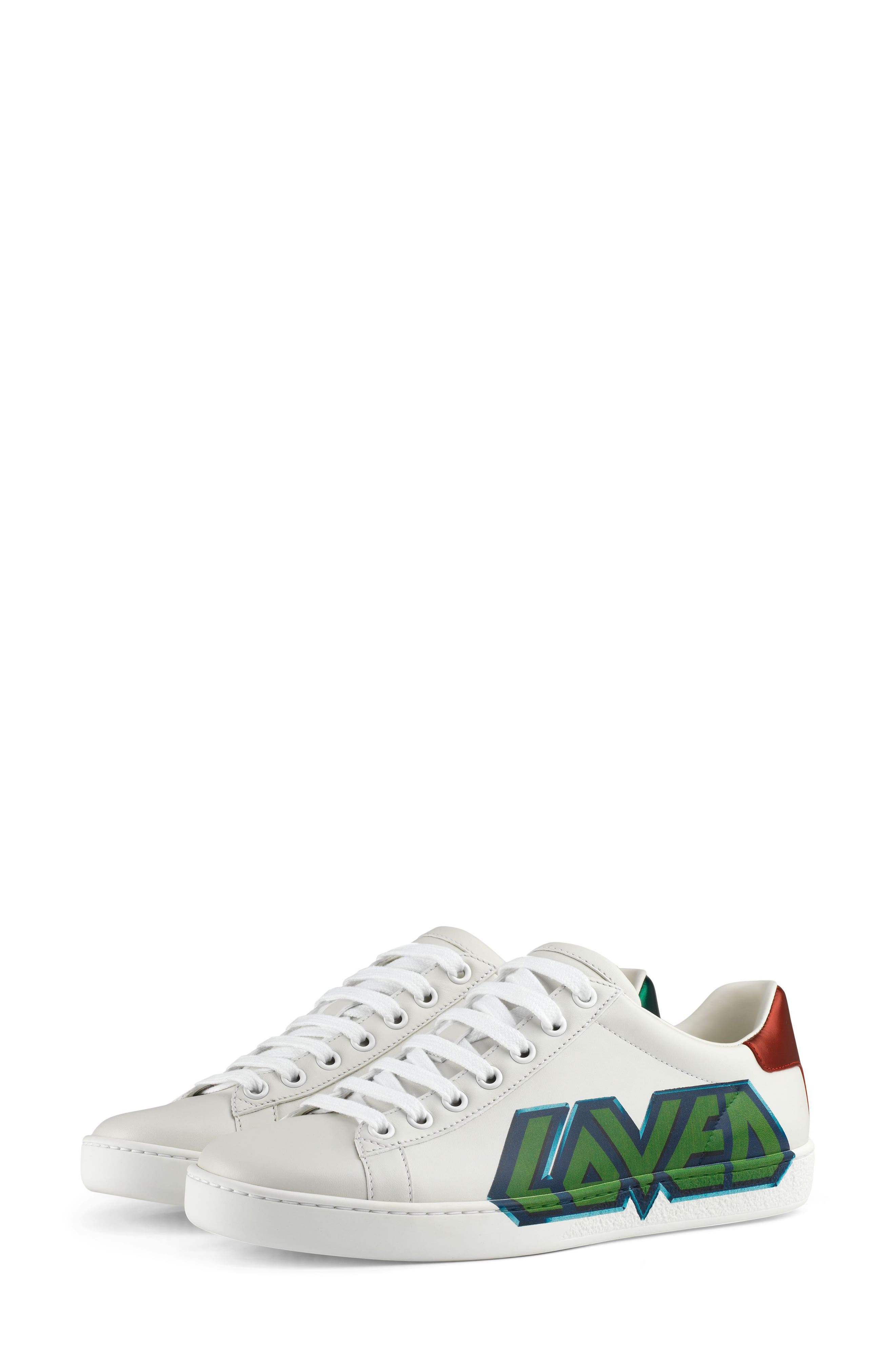 GUCCI,                             New Ace Loved Sneaker,                             Alternate thumbnail 6, color,                             WHITE