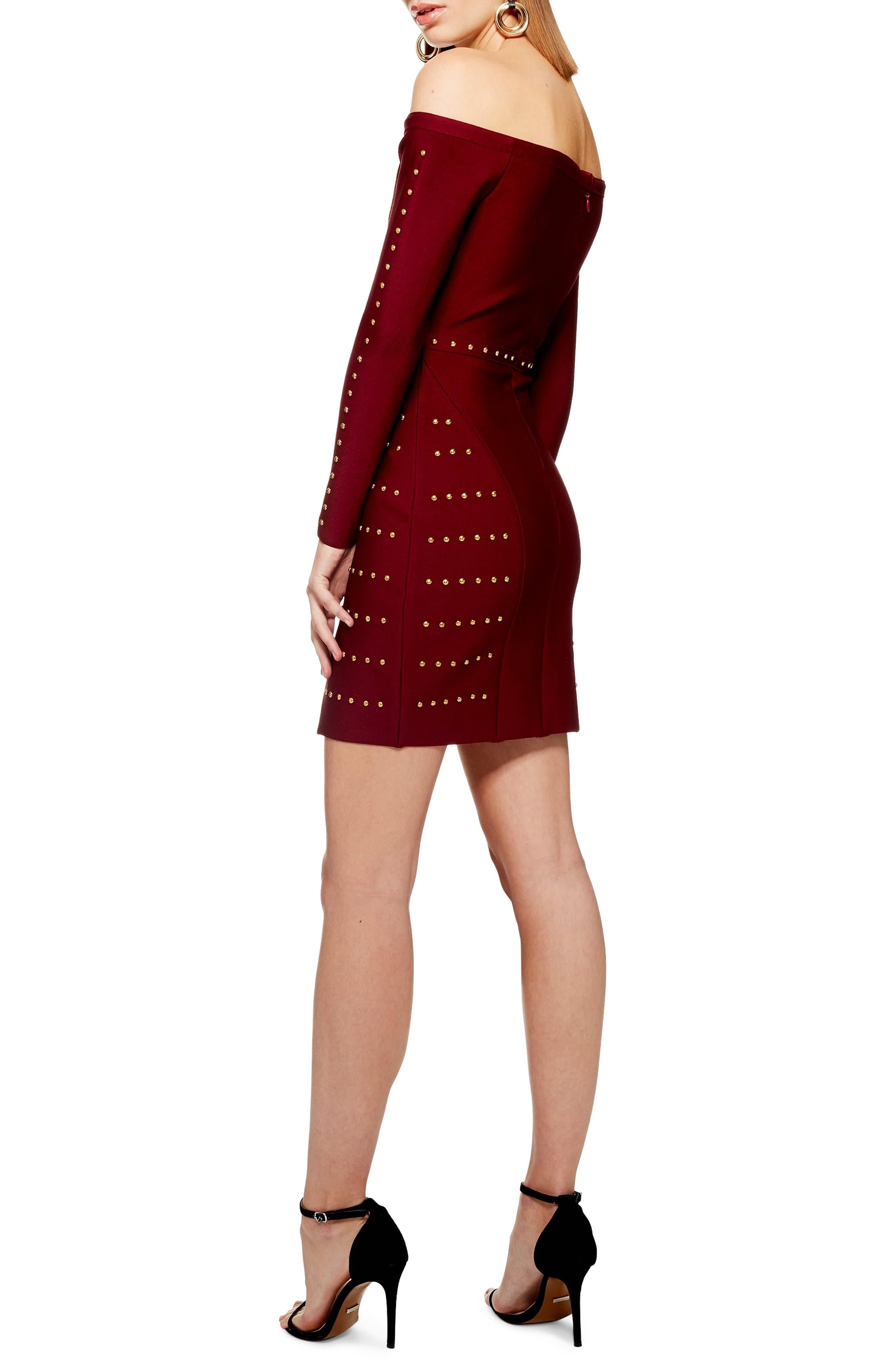 Studded Off the Shoulder Dress,                             Alternate thumbnail 2, color,                             RED