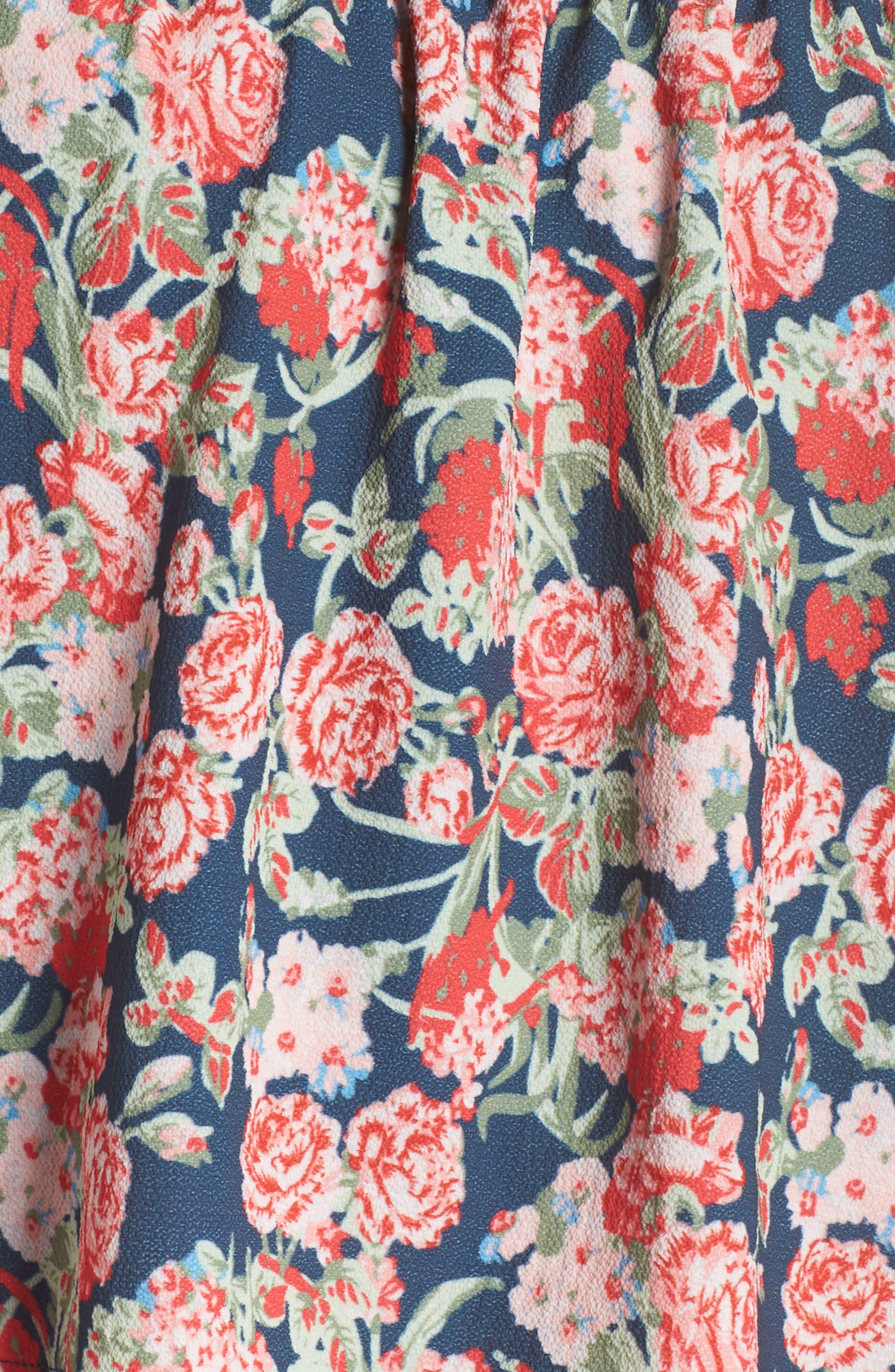 Print Strapless Popover Dress,                             Alternate thumbnail 6, color,