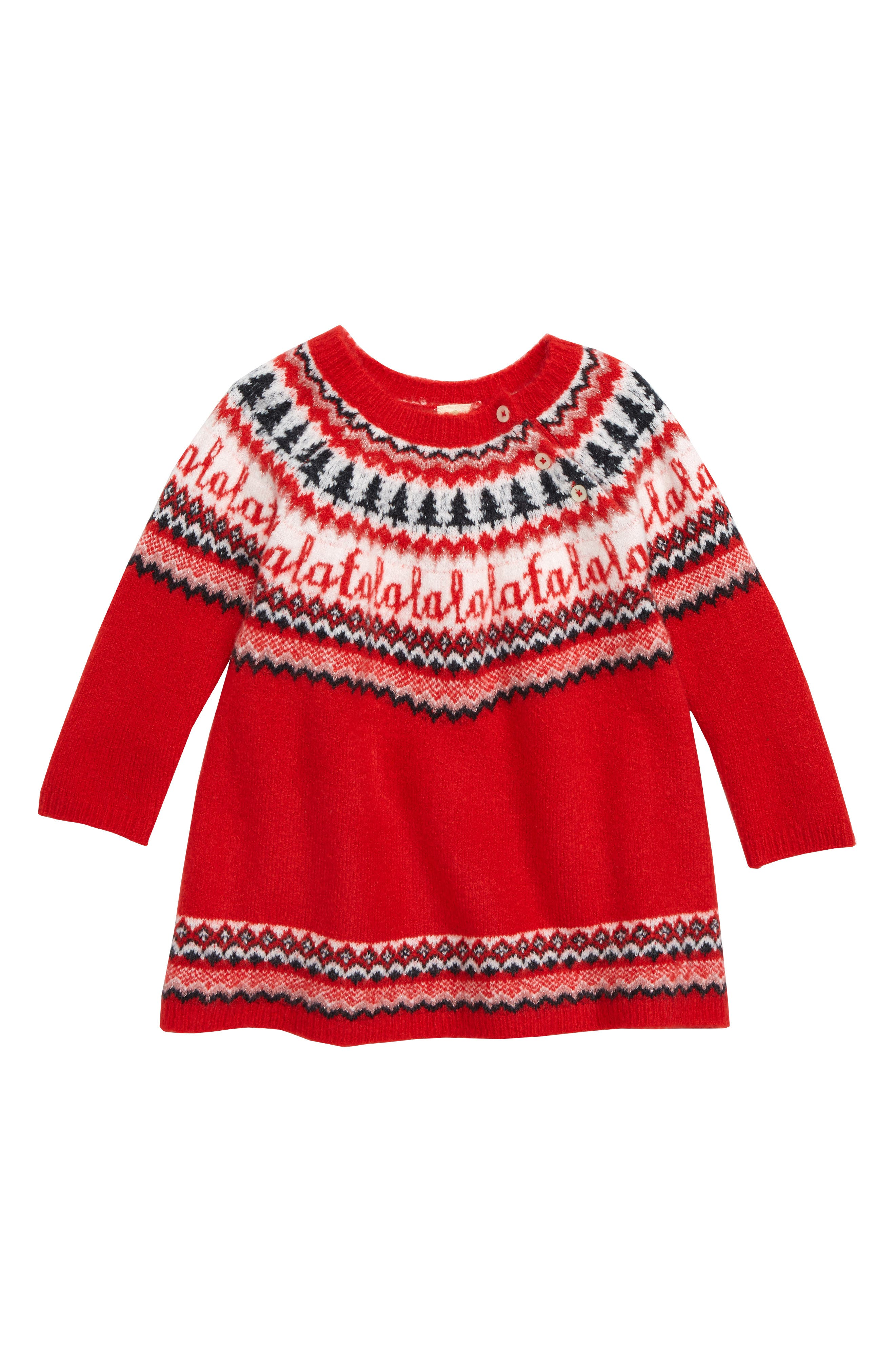 Holiday Sweater Dress,                             Main thumbnail 1, color,                             RED PEPPER NORDIC HOLIDAY