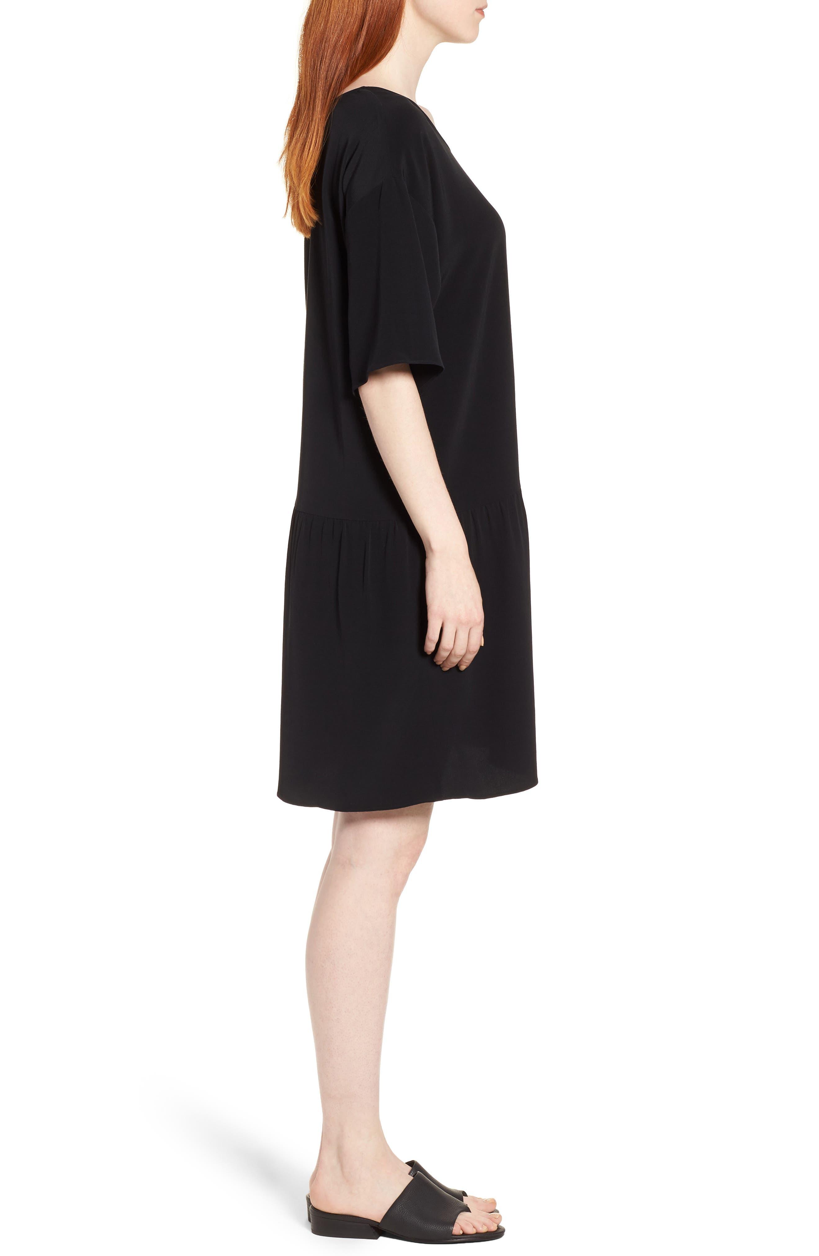 Drop Waist Tencel<sup>®</sup> Lyocell Blend Dress,                             Alternate thumbnail 3, color,                             001