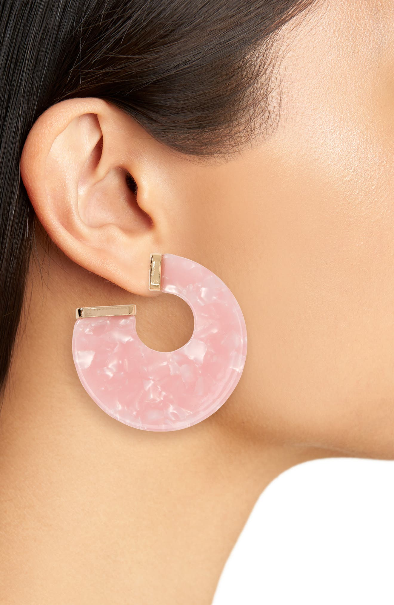 Flat Resin Hoop Earrings,                             Alternate thumbnail 2, color,                             PINK