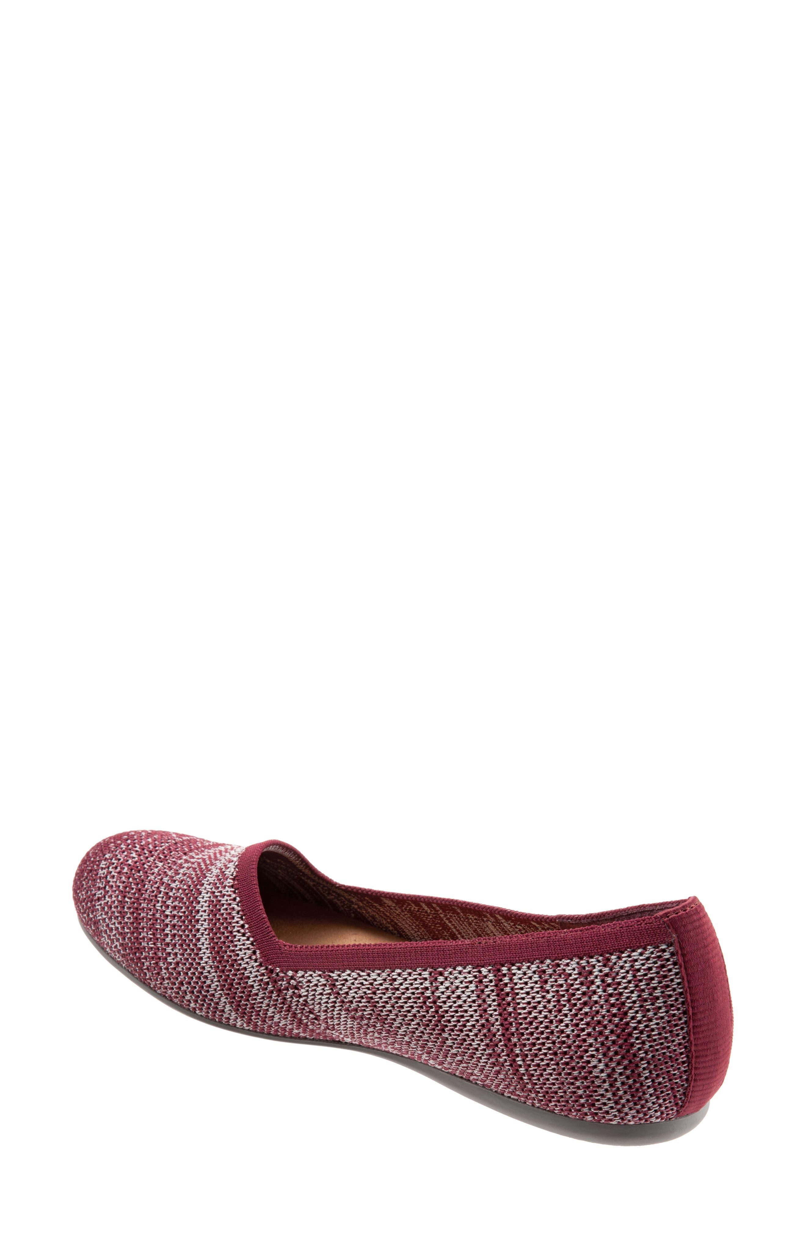 Sicily Knit Flat,                             Alternate thumbnail 2, color,                             BURGUNDY KNIT FABRIC